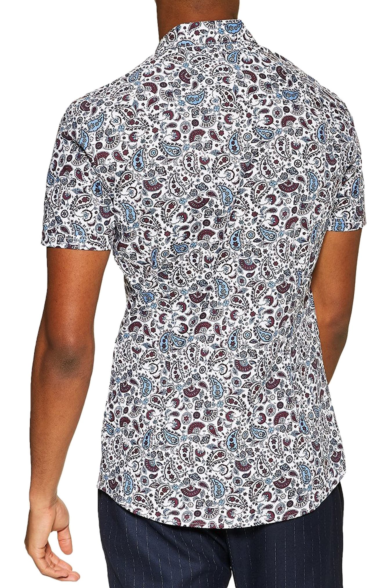 TOPMAN, Paisley Print Slim Fit Shirt, Alternate thumbnail 3, color, BLUE MULTI