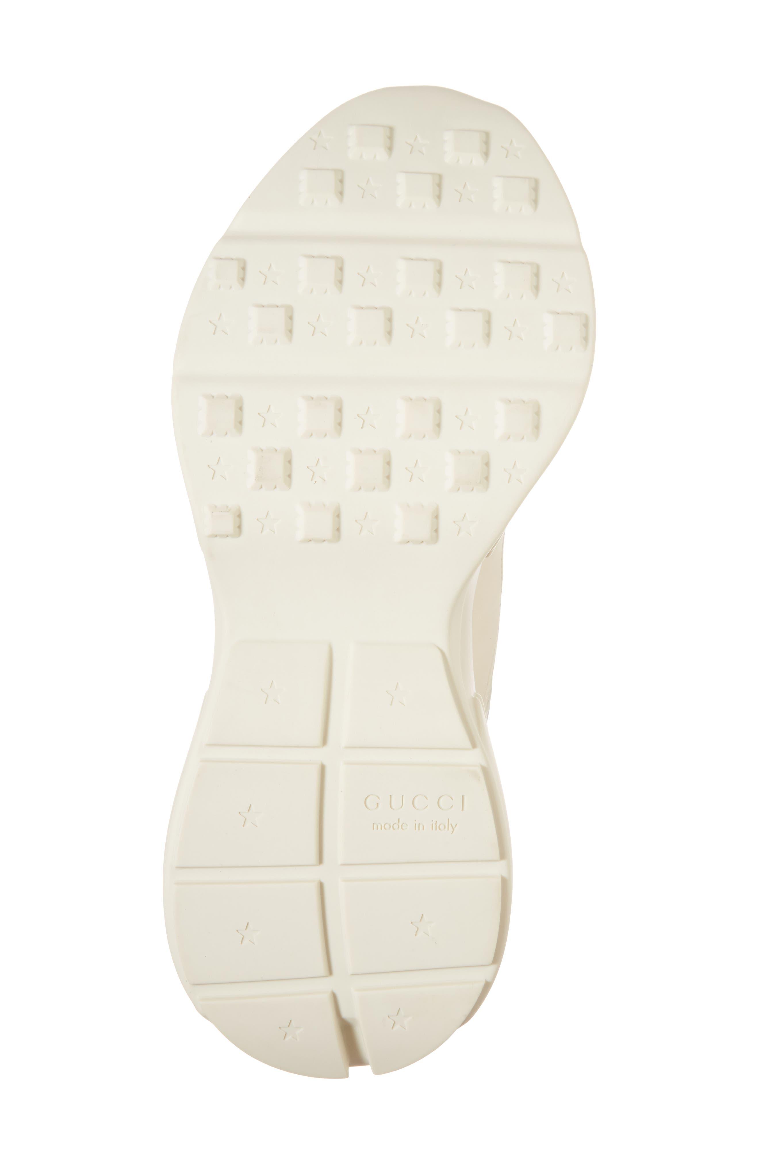 GUCCI, Logo Leather Sneaker, Alternate thumbnail 6, color, WHITE PRINT