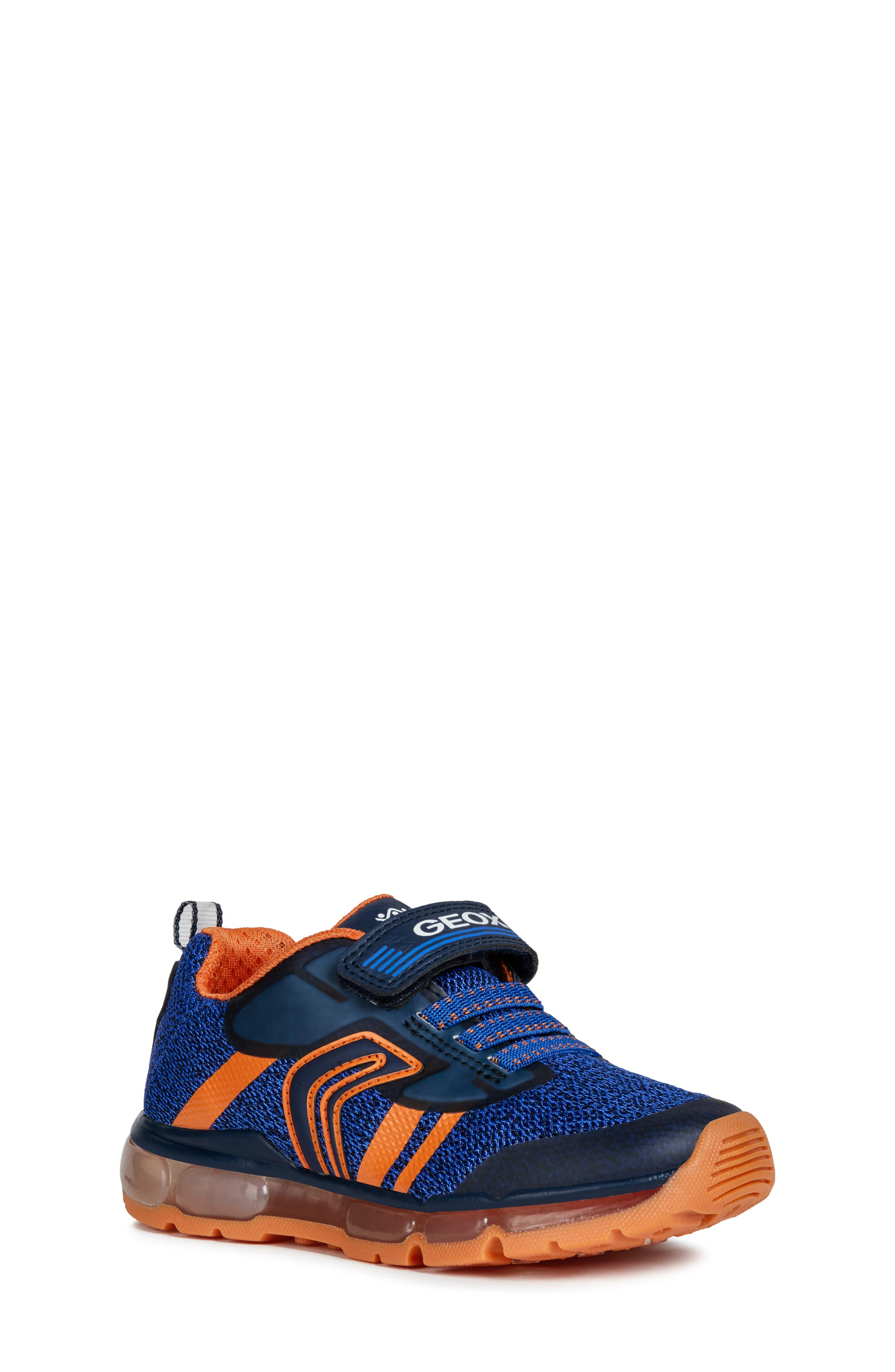 GEOX, Android 19 Light-Up Sneaker, Main thumbnail 1, color, NAVY/ ORANGE