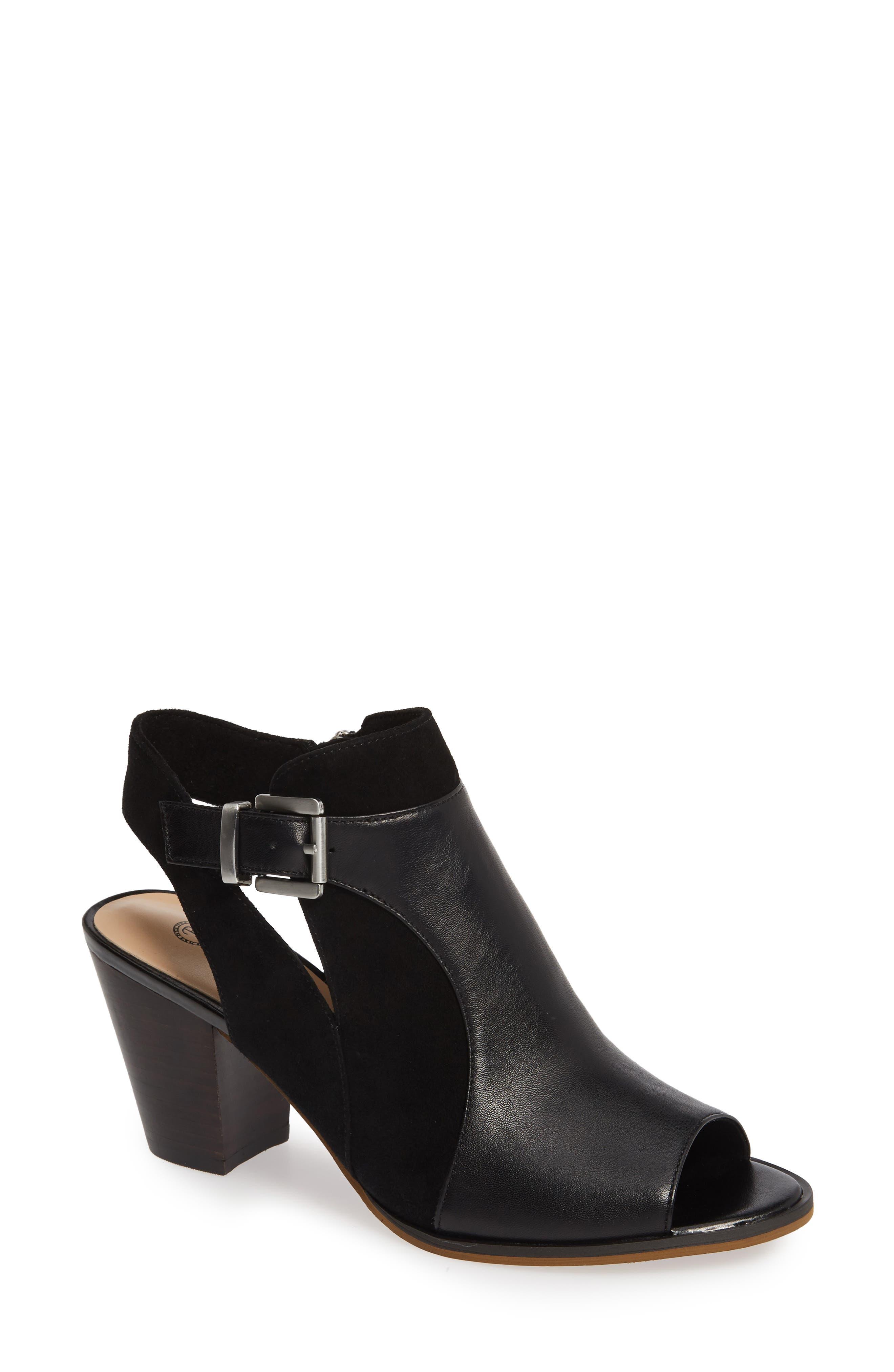 BELLA VITA, Kellan Mixed Finish Sandal, Main thumbnail 1, color, BLACK LEATHER/ SUEDE