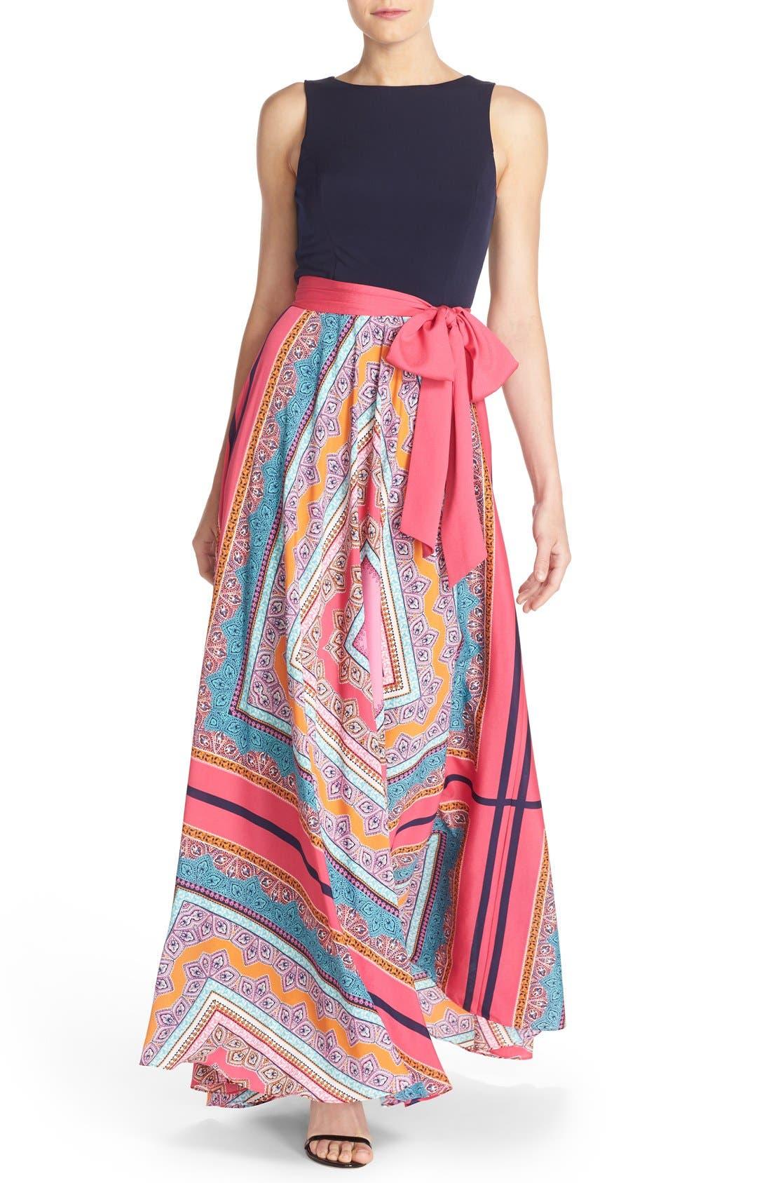 ELIZA J, Scarf Print Jersey & Crêpe de Chine Maxi Dress, Main thumbnail 1, color, PINK