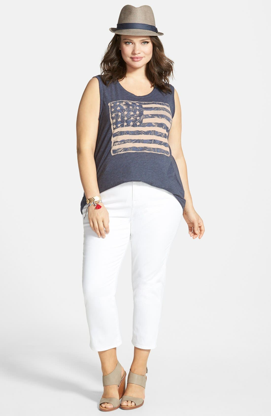 LUCKY BRAND, 'Emma' Stretch Crop Jeans, Alternate thumbnail 2, color, 110
