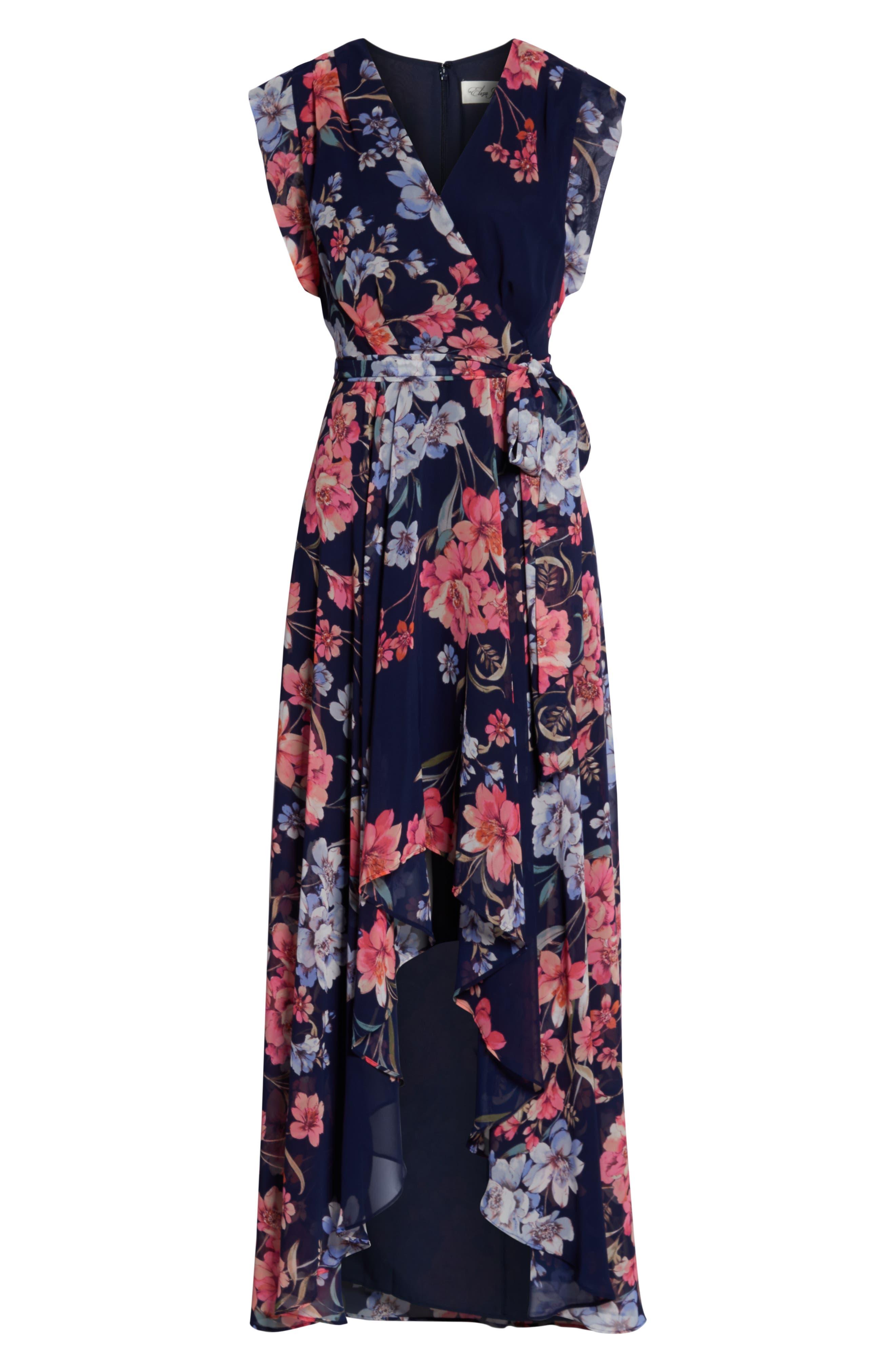 ELIZA J, Floral High/Low Faux Wrap Chiffon Dress, Alternate thumbnail 7, color, NAVY