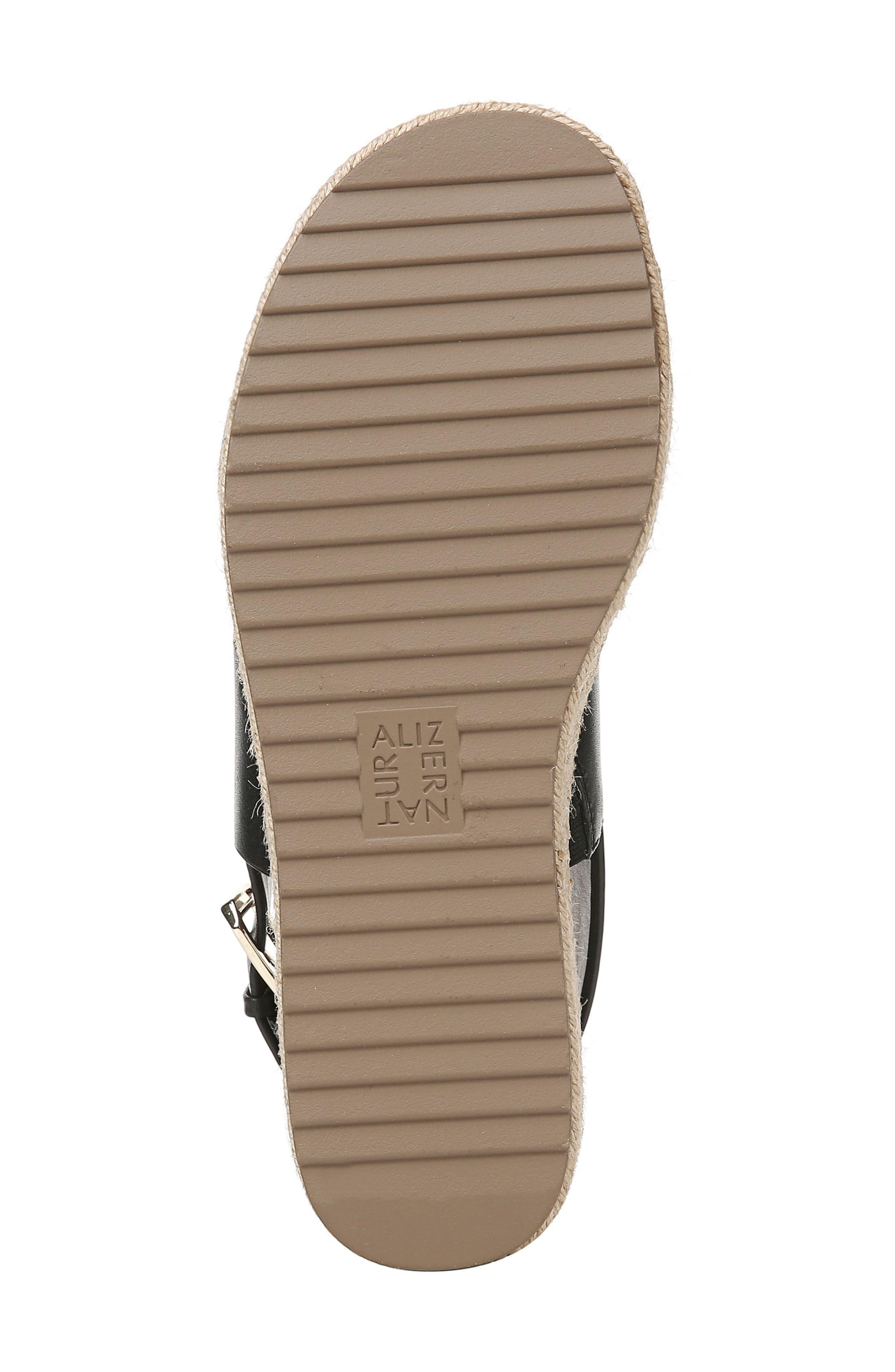 NATURALIZER, Jaycie Platform Sandal, Alternate thumbnail 6, color, BLACK LEATHER