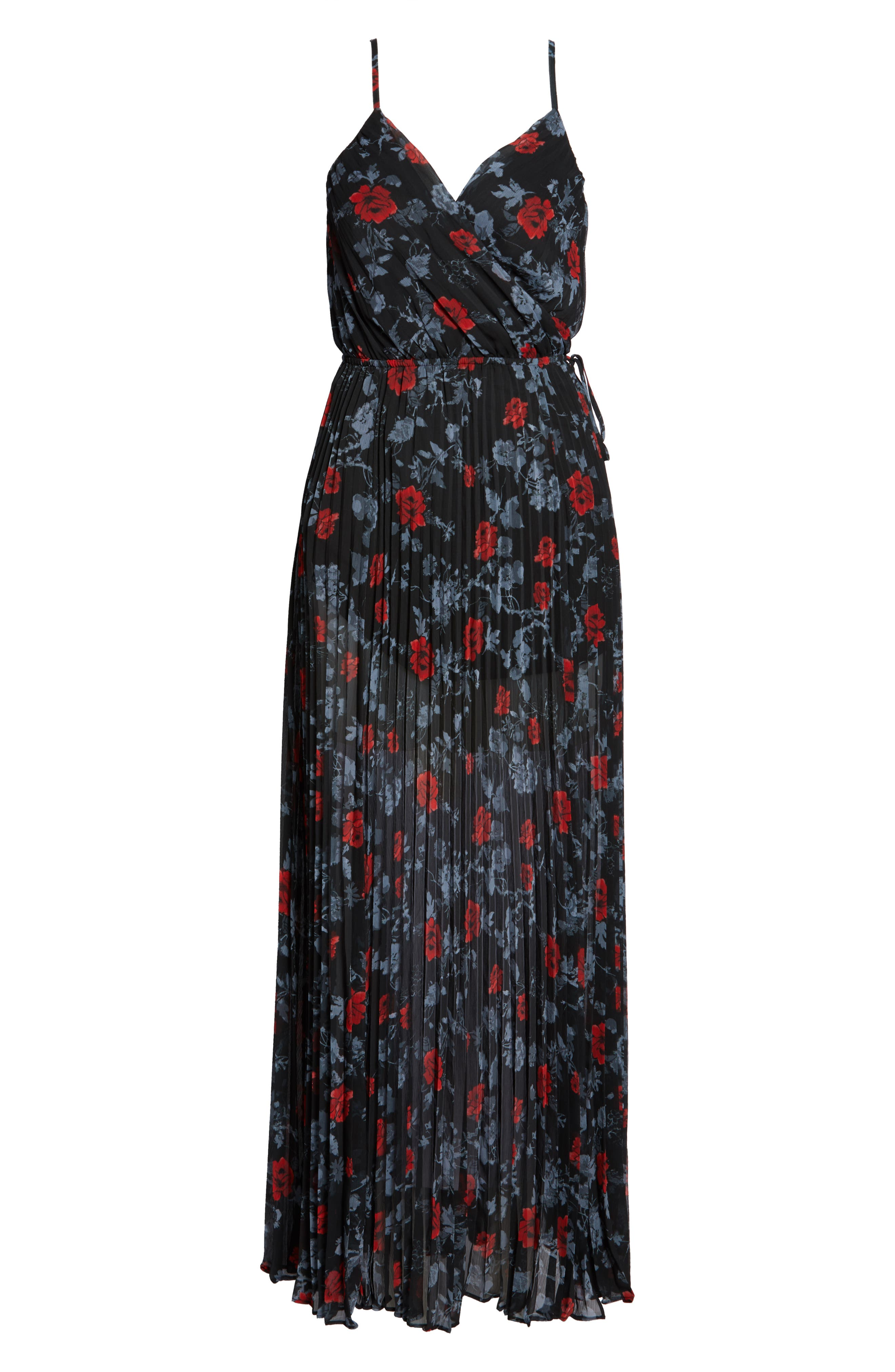 ALI & JAY, Roses Are Red Floral Pleated Maxi Dress, Alternate thumbnail 7, color, SCARLET ROSES