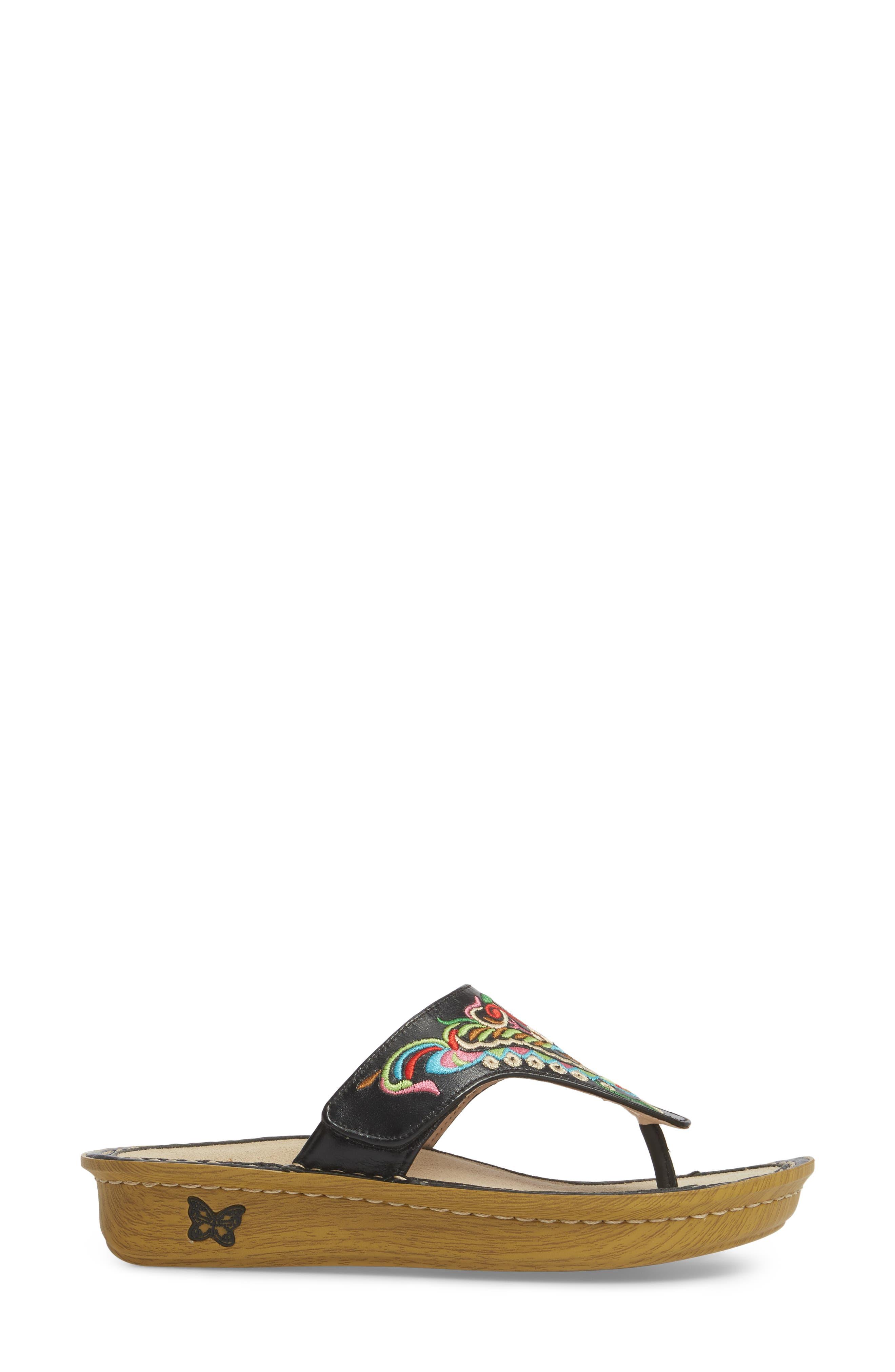 ALEGRIA, 'Vanessa' Thong Sandal, Alternate thumbnail 3, color, CHRYSALIS BLACK LEATHER