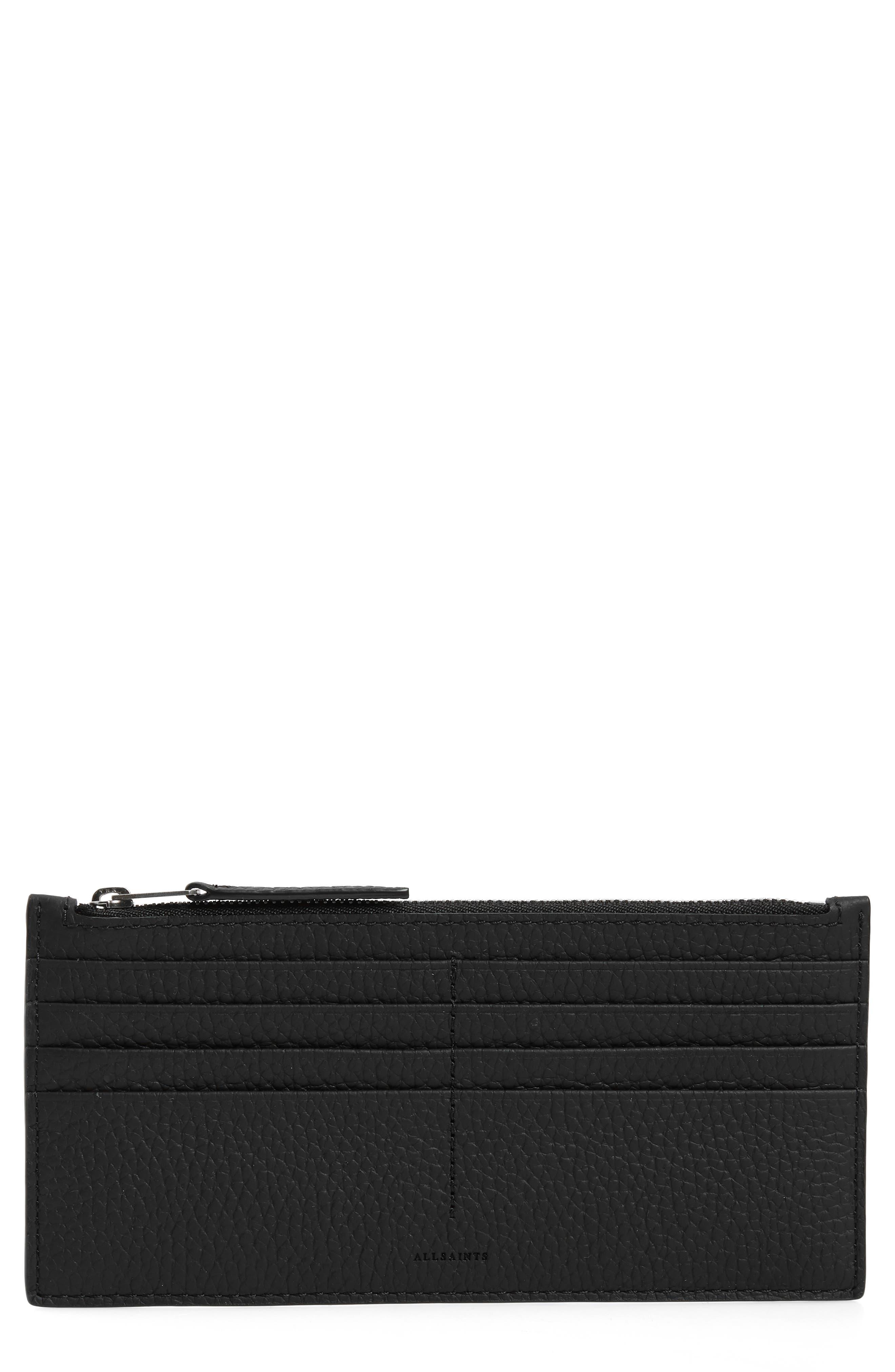 ALLSAINTS Clip Lea Zip Leather Card Holder, Main, color, BLACK