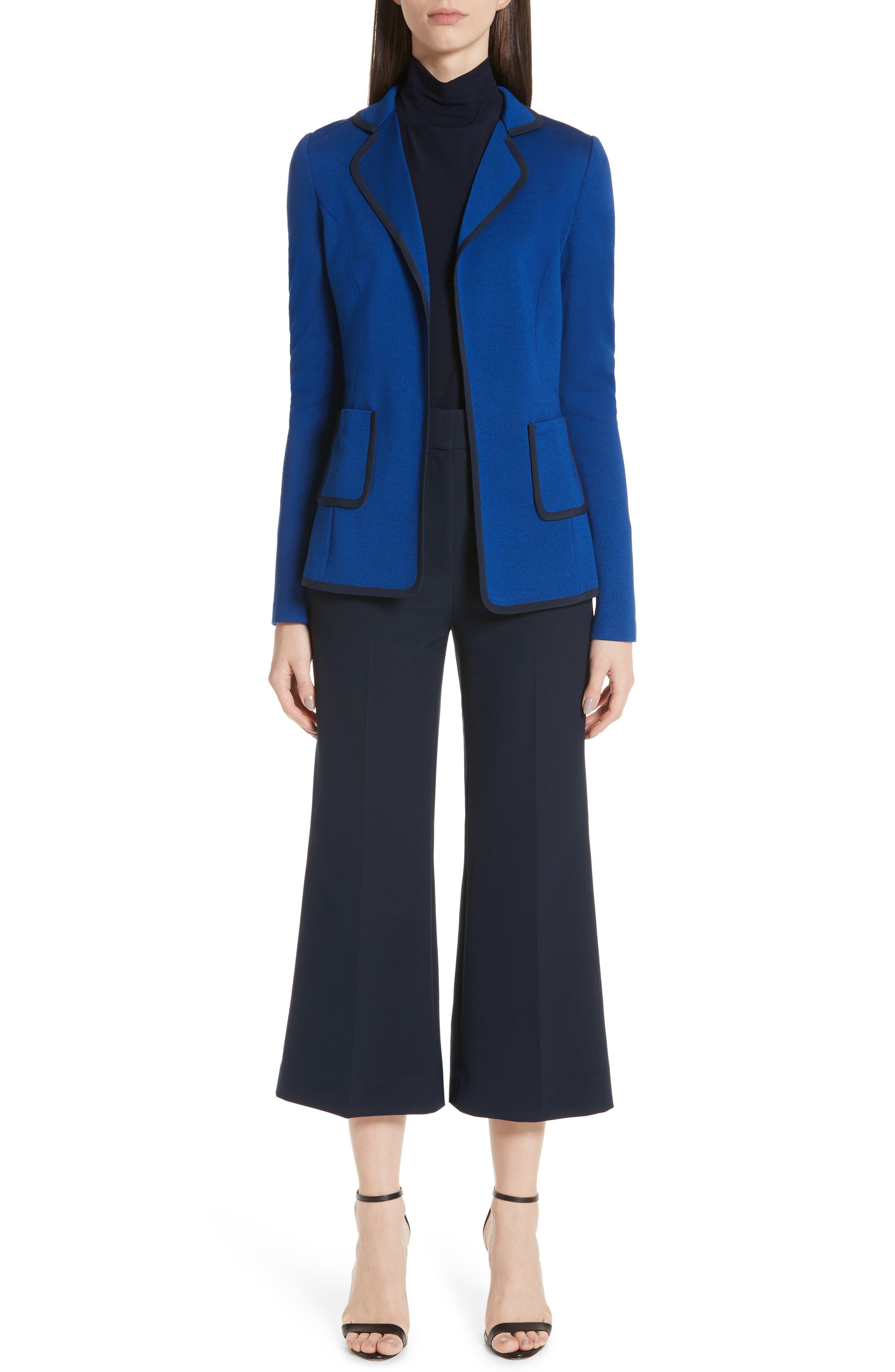 ST. JOHN COLLECTION, Patch Pocket Milano Knit Jacket, Alternate thumbnail 8, color, AZUL/ NAVY