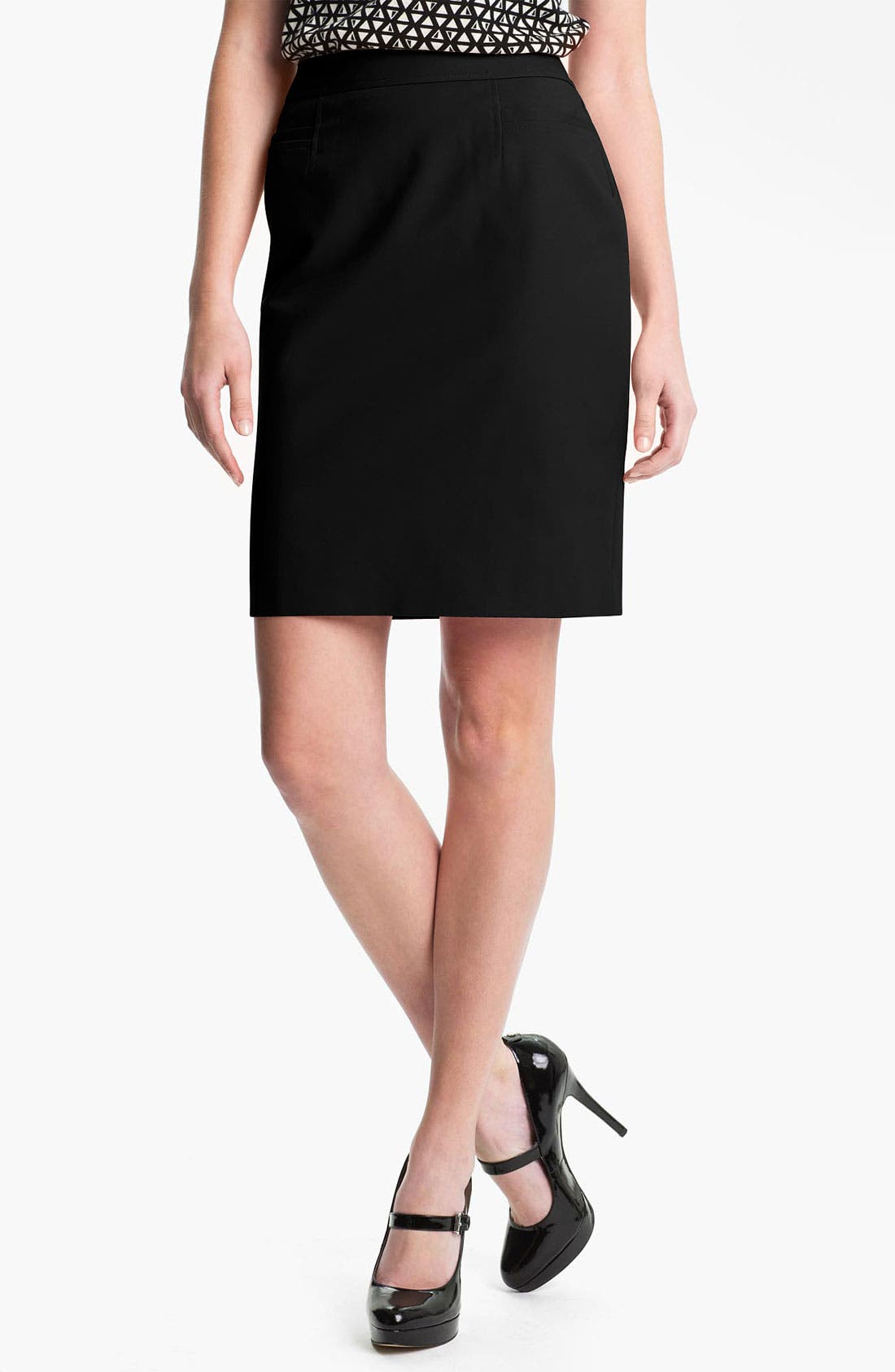 HALOGEN<SUP>®</SUP>, Stretch Woven Skirt, Main thumbnail 1, color, 001