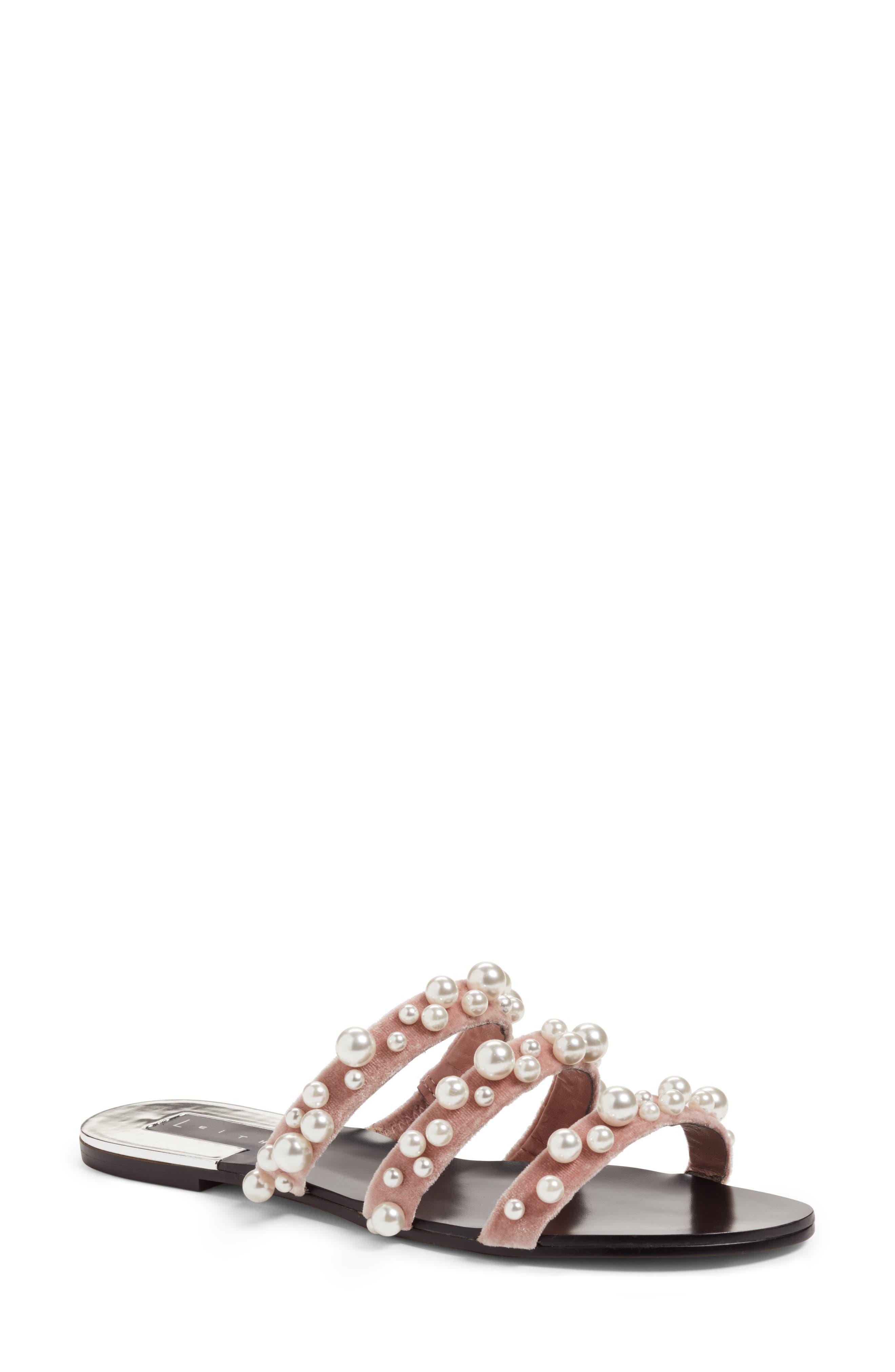 LEITH, Stunner Embellished Strappy Slide Sandal, Main thumbnail 1, color, BLUSH VELVET
