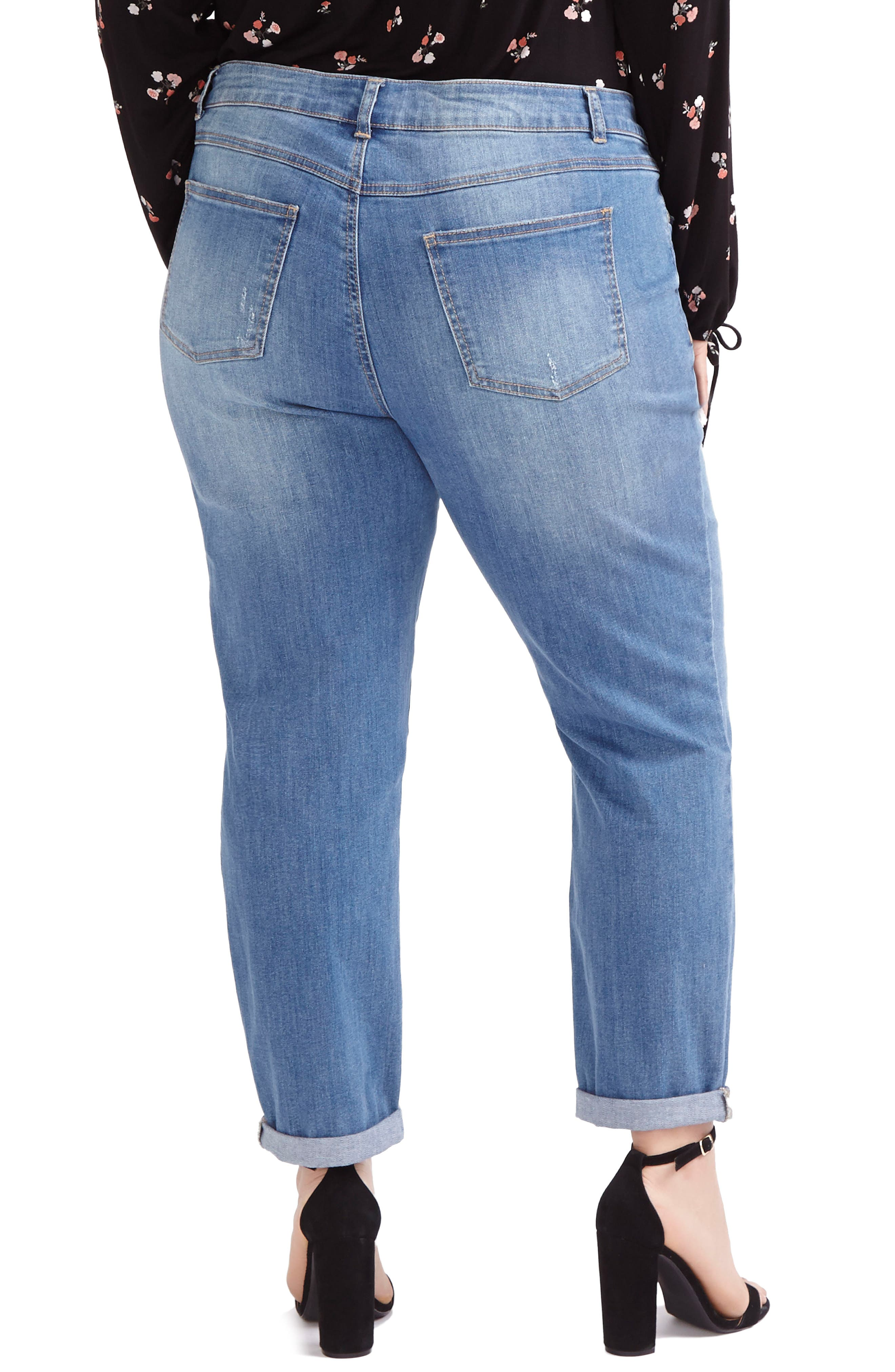 ADDITION ELLE LOVE AND LEGEND, Ripped Boyfriend Jeans, Alternate thumbnail 2, color, 450