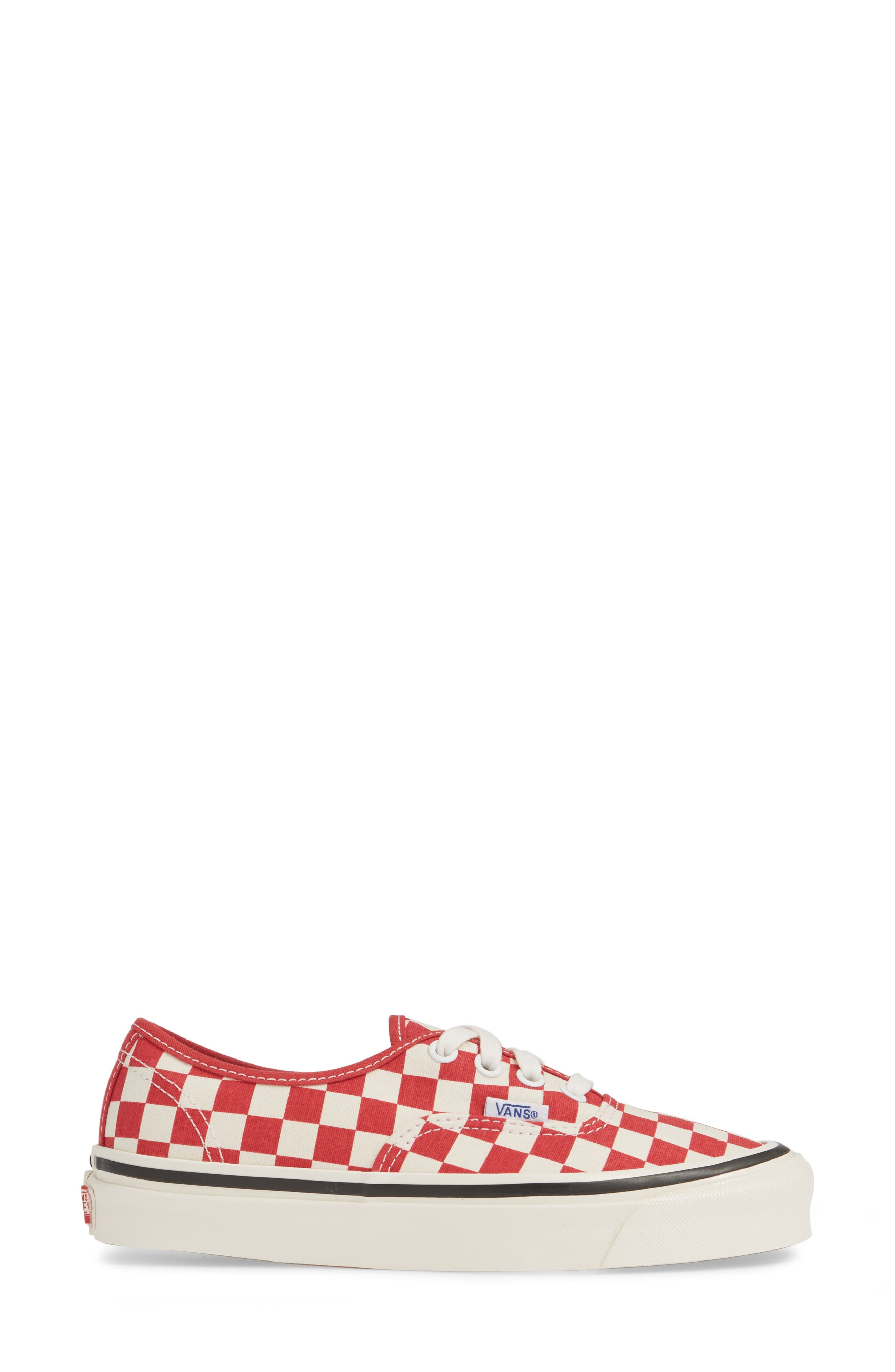 VANS, Authentic 44 DX Sneaker, Alternate thumbnail 3, color, RED/ CHECK