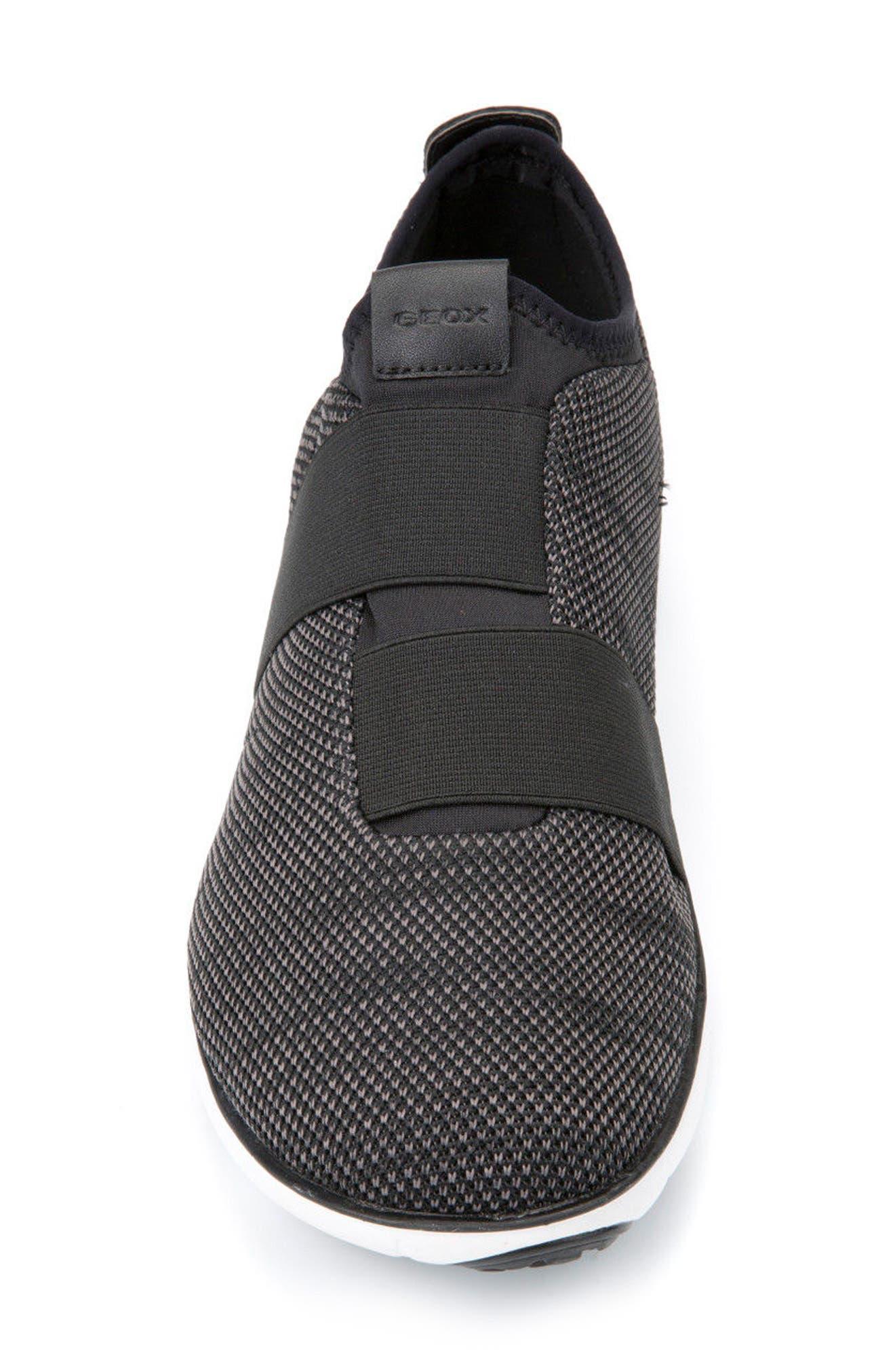 GEOX, Nebula 45 Banded Slip-On Sneaker, Alternate thumbnail 4, color, BLACK