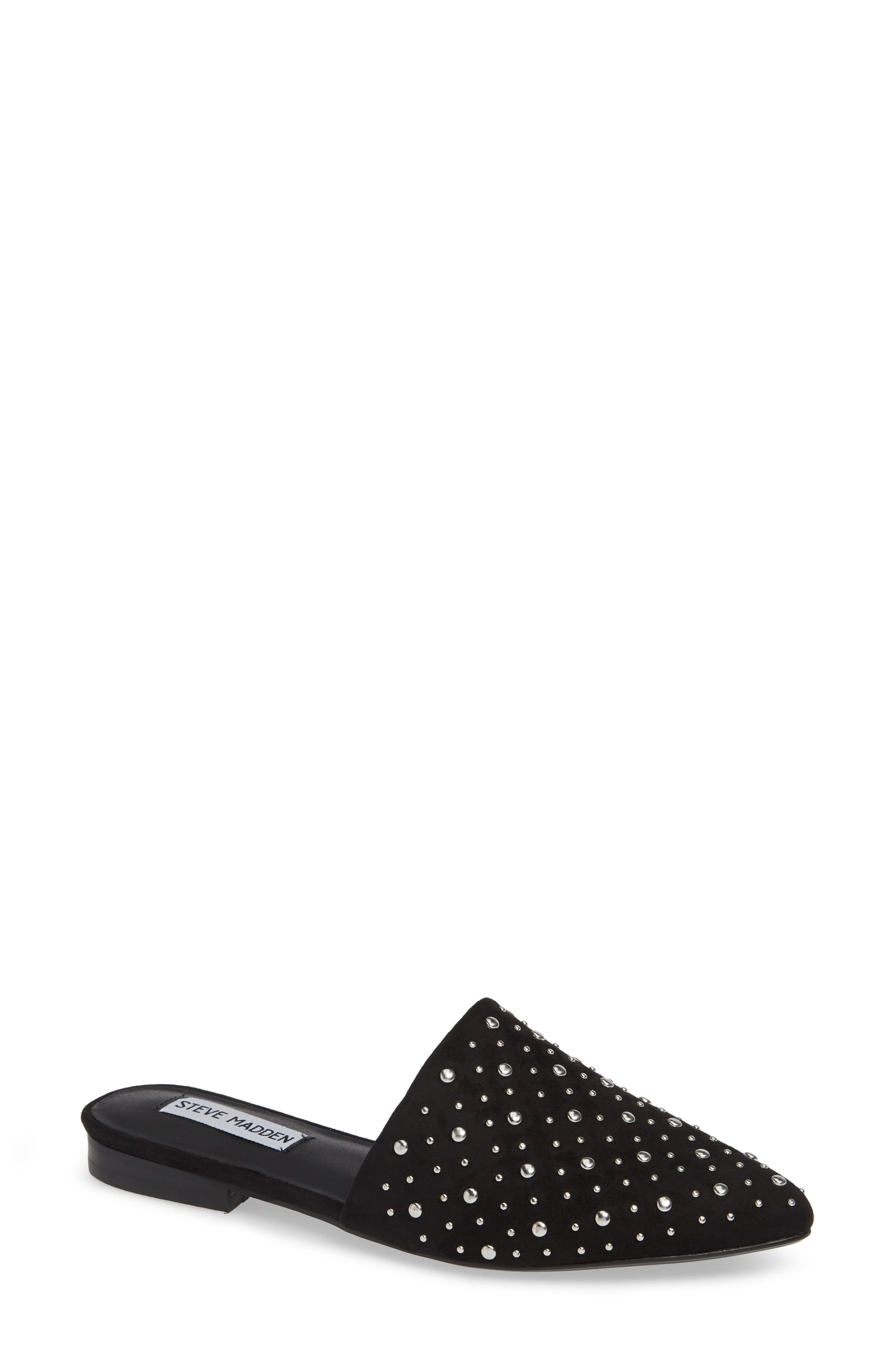 STEVE MADDEN, Tempo Studded Mule, Main thumbnail 1, color, 001