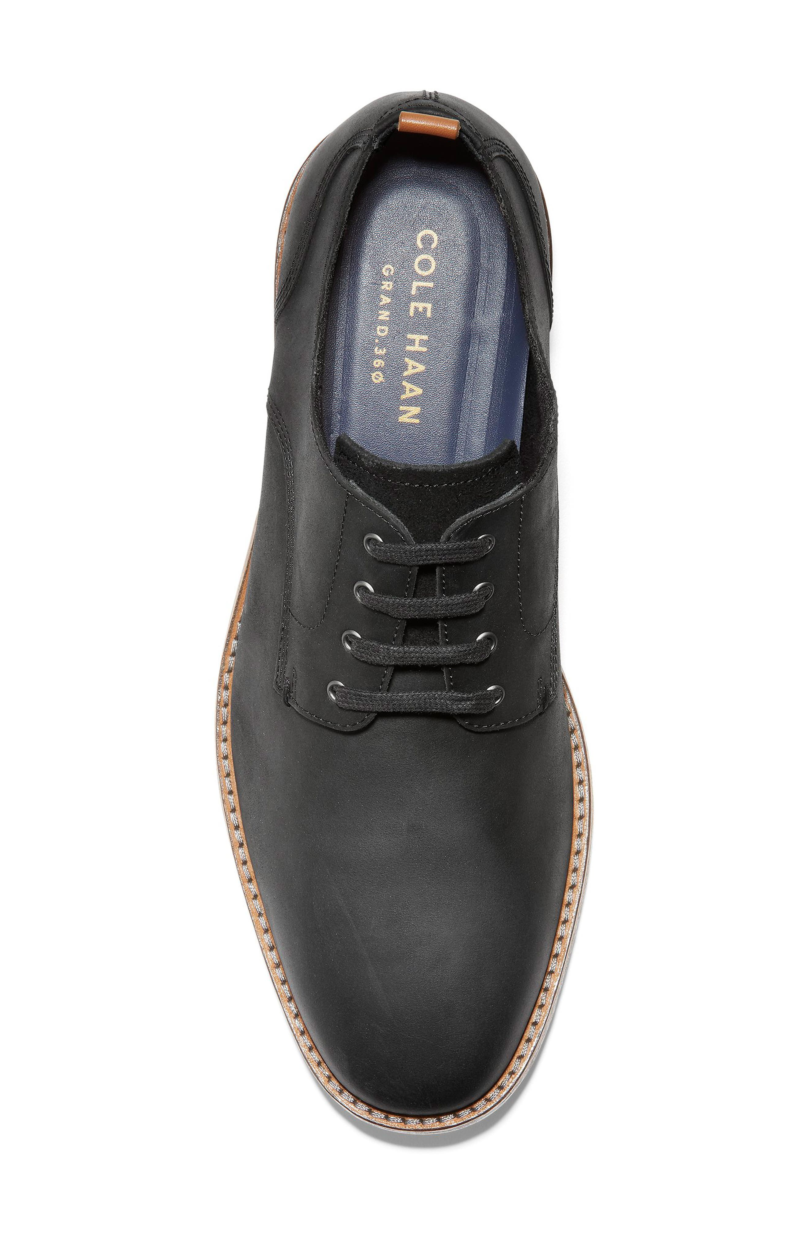 COLE HAAN, Feathercraft Grand Derby, Alternate thumbnail 5, color, BLACK LEATHER