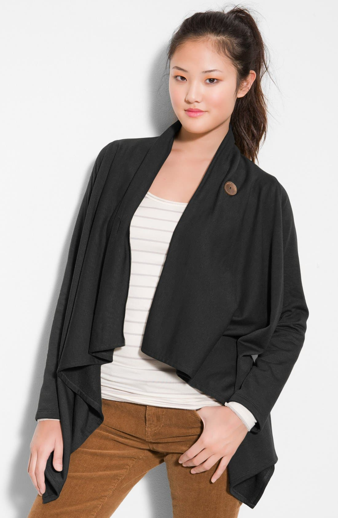 BOBEAU, One-Button Fleece Wrap Cardigan, Alternate thumbnail 7, color, BLACK