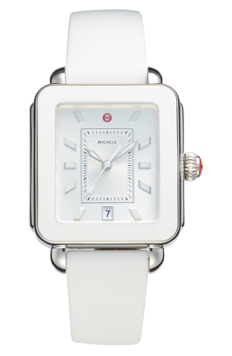 MICHELE Deco Sport Watch Head & Silicone Strap Watch, 34mm x 36mm, Main, color, WHITE/ SILVER