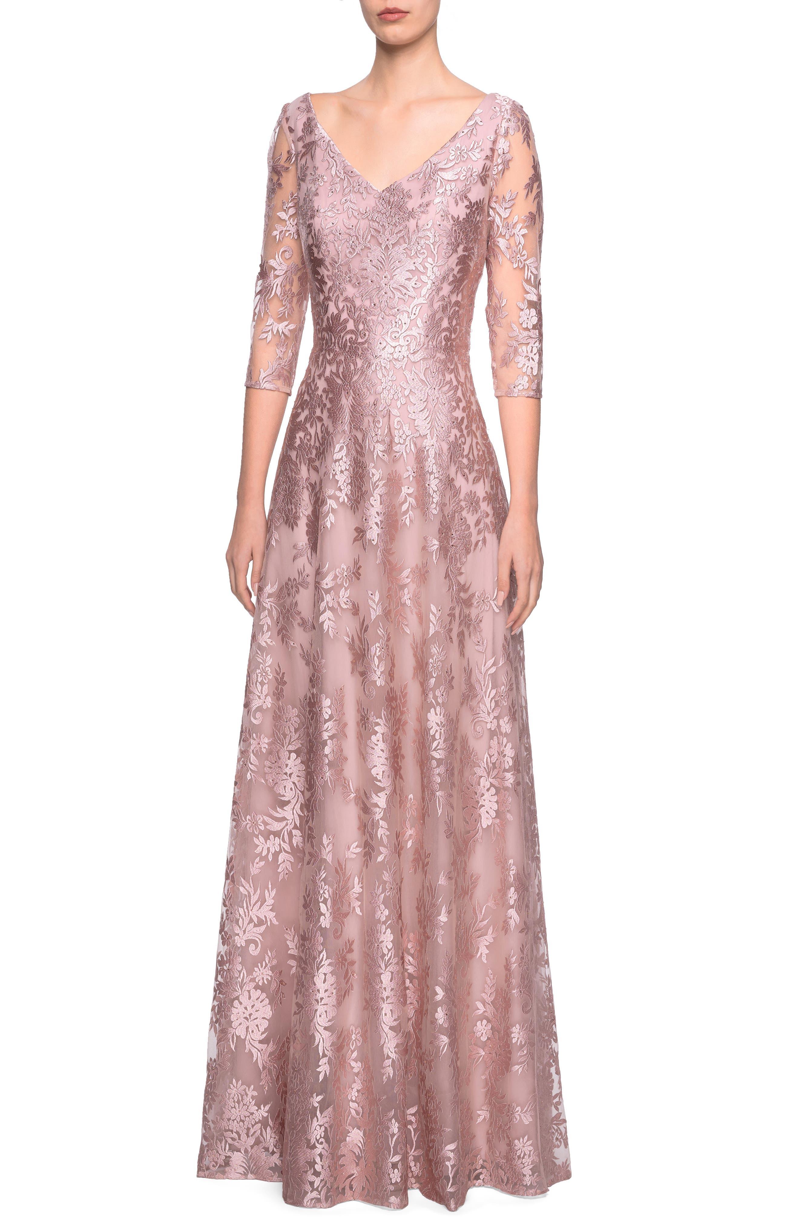 La Femme V-Neck Metallic Embroidered Evening Dress, Pink