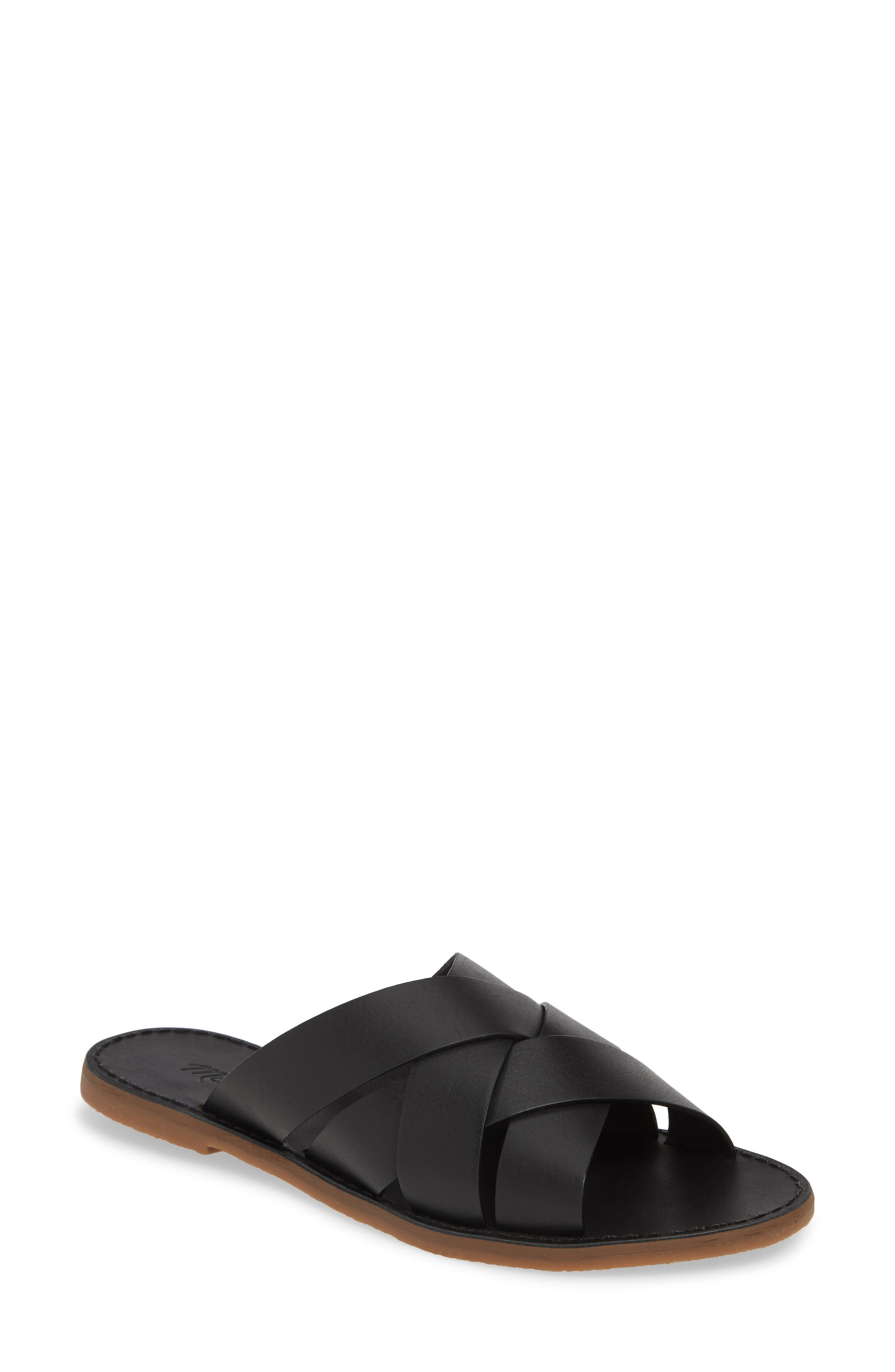 MADEWELL The Boardwalk Woven Slide Sandal, Main, color, TRUE BLACK