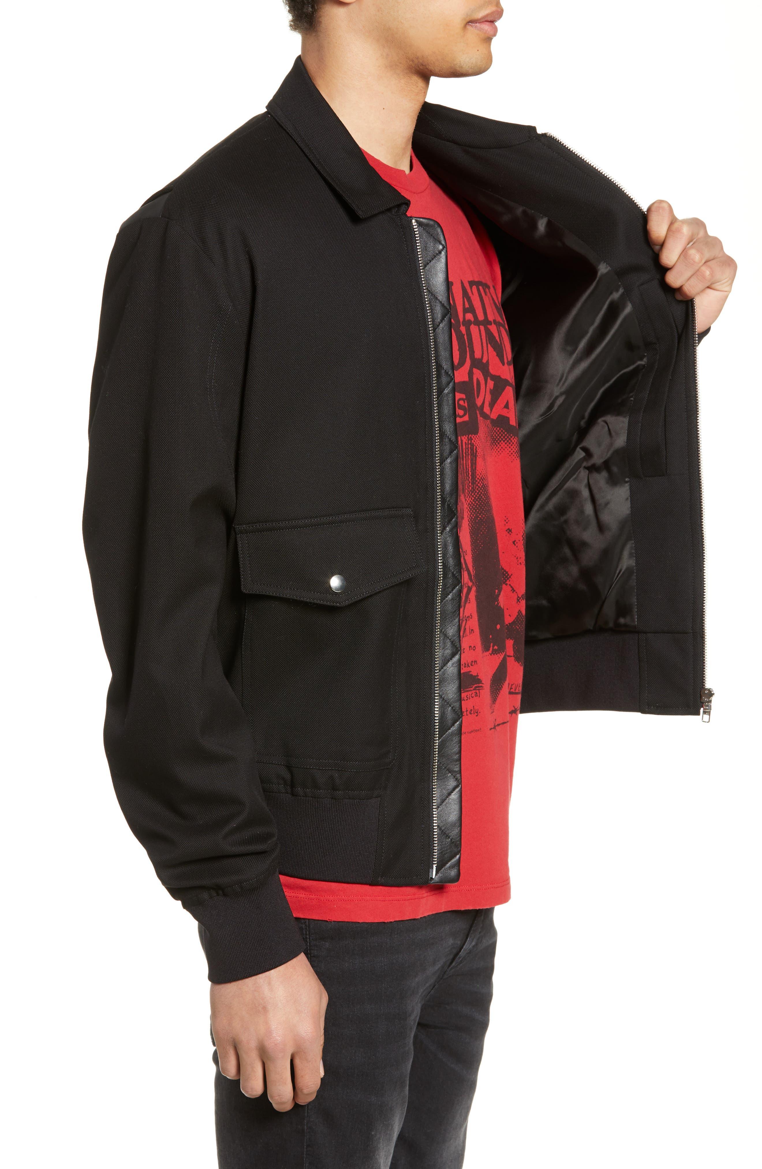 THE KOOPLES, Leather Detail Jacket, Alternate thumbnail 3, color, BLACK