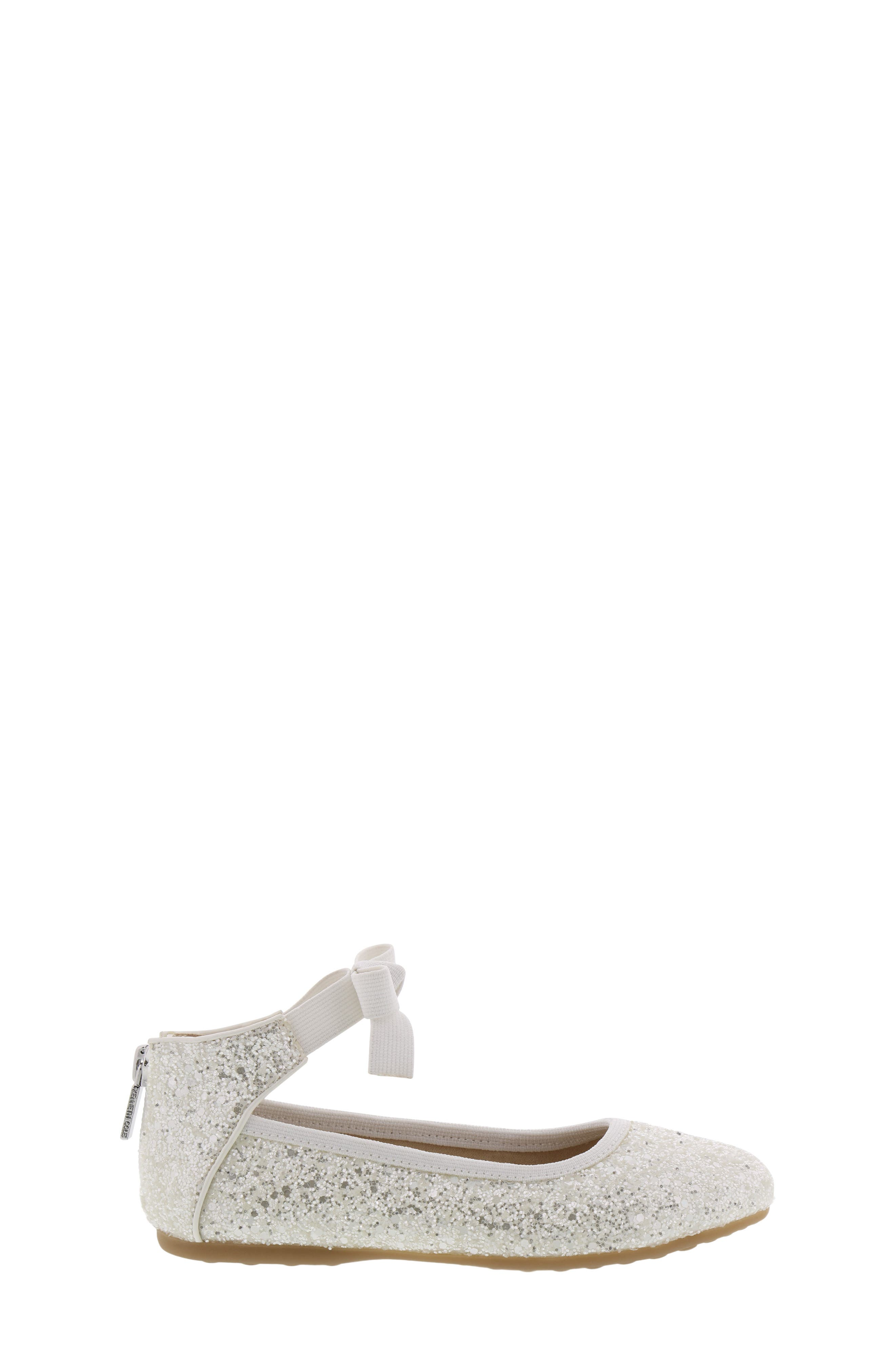 KENNETH COLE NEW YORK, Rose Bow Ballet Flat, Alternate thumbnail 3, color, WHITE SUGAR GLITTER