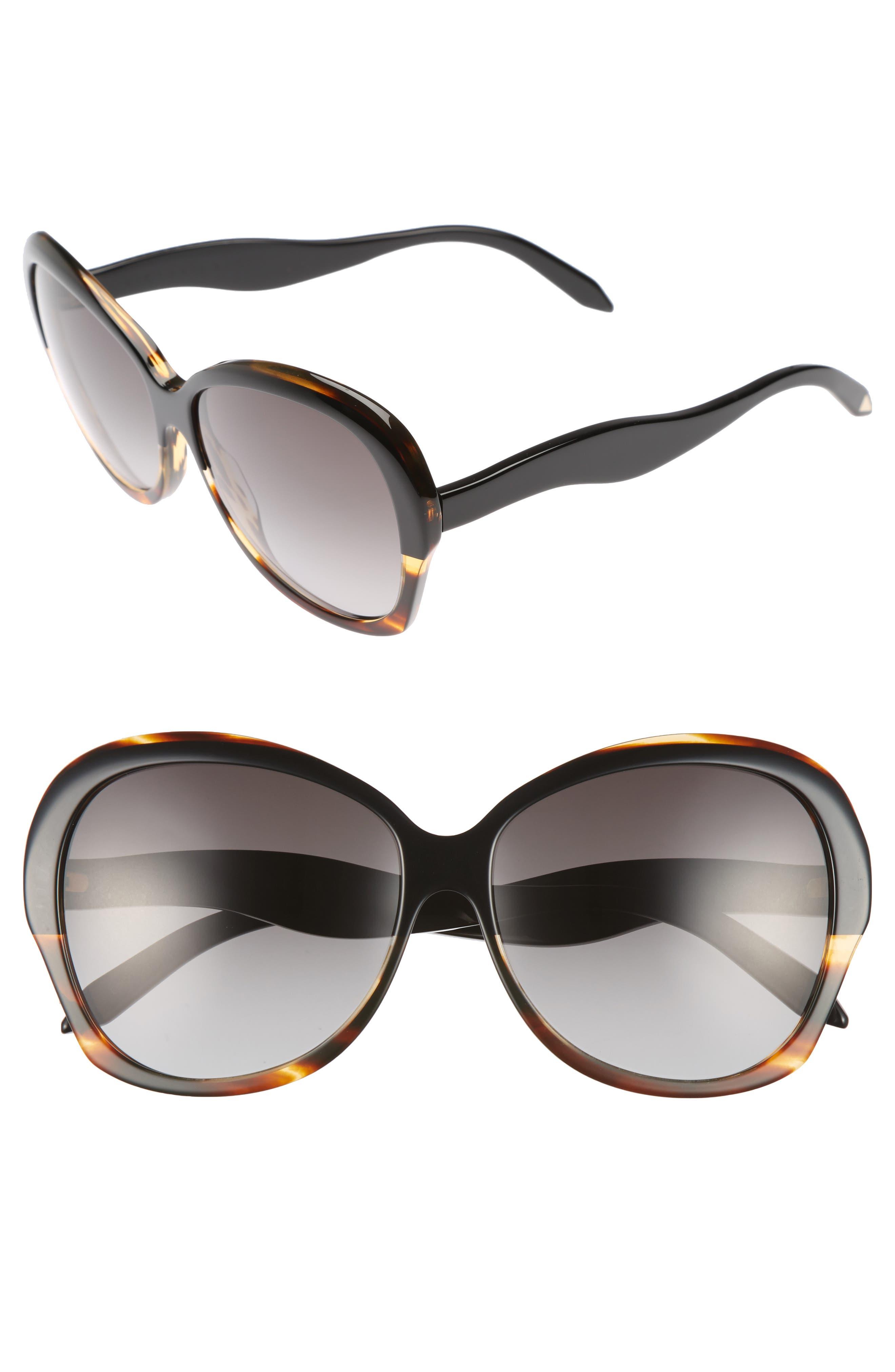 VICTORIA BECKHAM, Happy 60mm Butterfly Sunglasses, Main thumbnail 1, color, BLACK/ TORTOISE GRAD