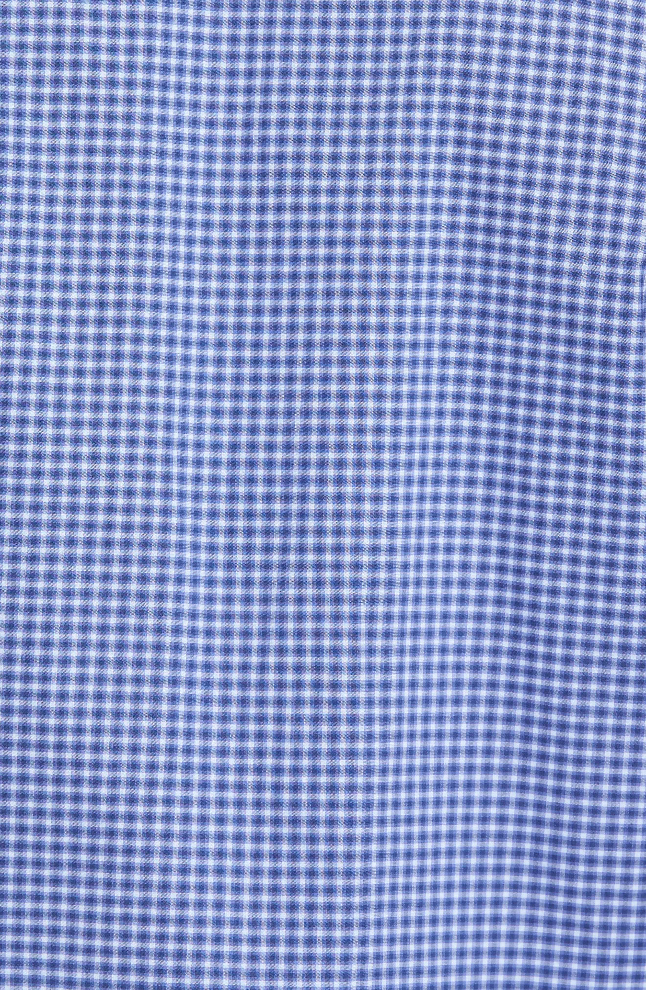 ZACHARY PRELL, Ramon Regular Fit Mini Check Sport Shirt, Alternate thumbnail 5, color, BLUE