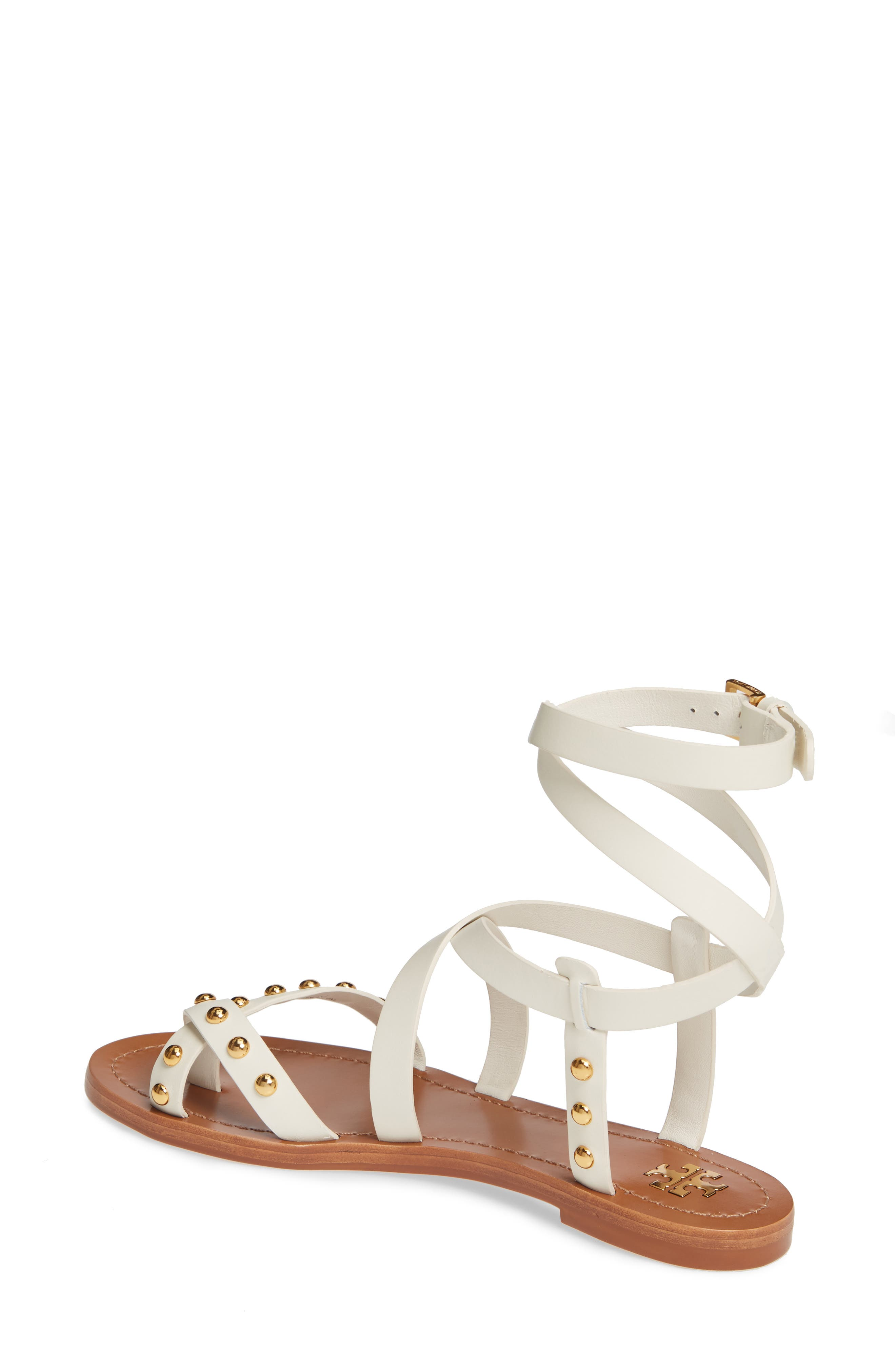 TORY BURCH, Ravello Studded Cage Sandal, Alternate thumbnail 2, color, PERFECT IVORY