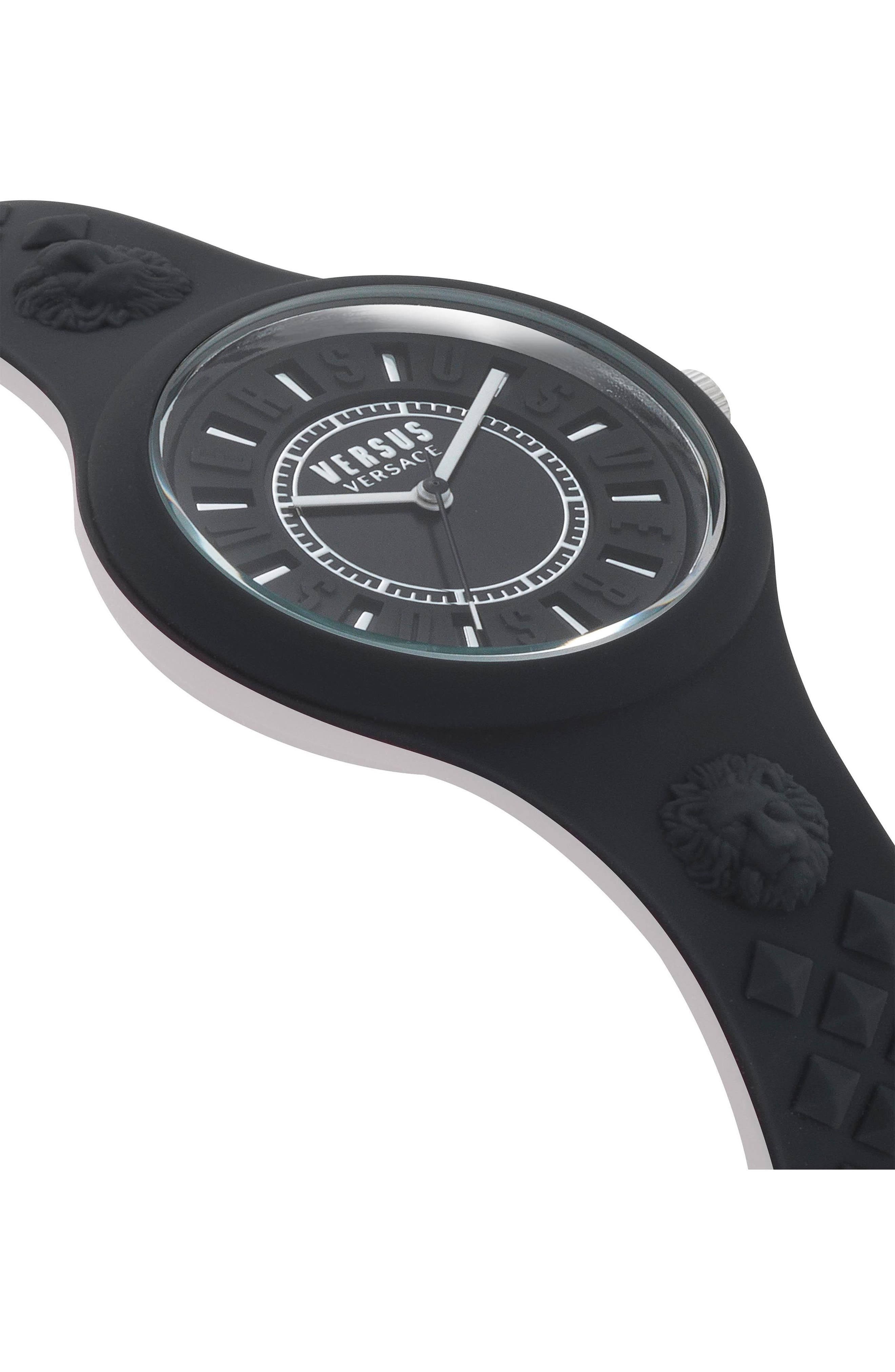 VERSUS VERSACE, Fire Island Silicone Strap Watch, 39mm, Alternate thumbnail 3, color, BLACK/ WHITE