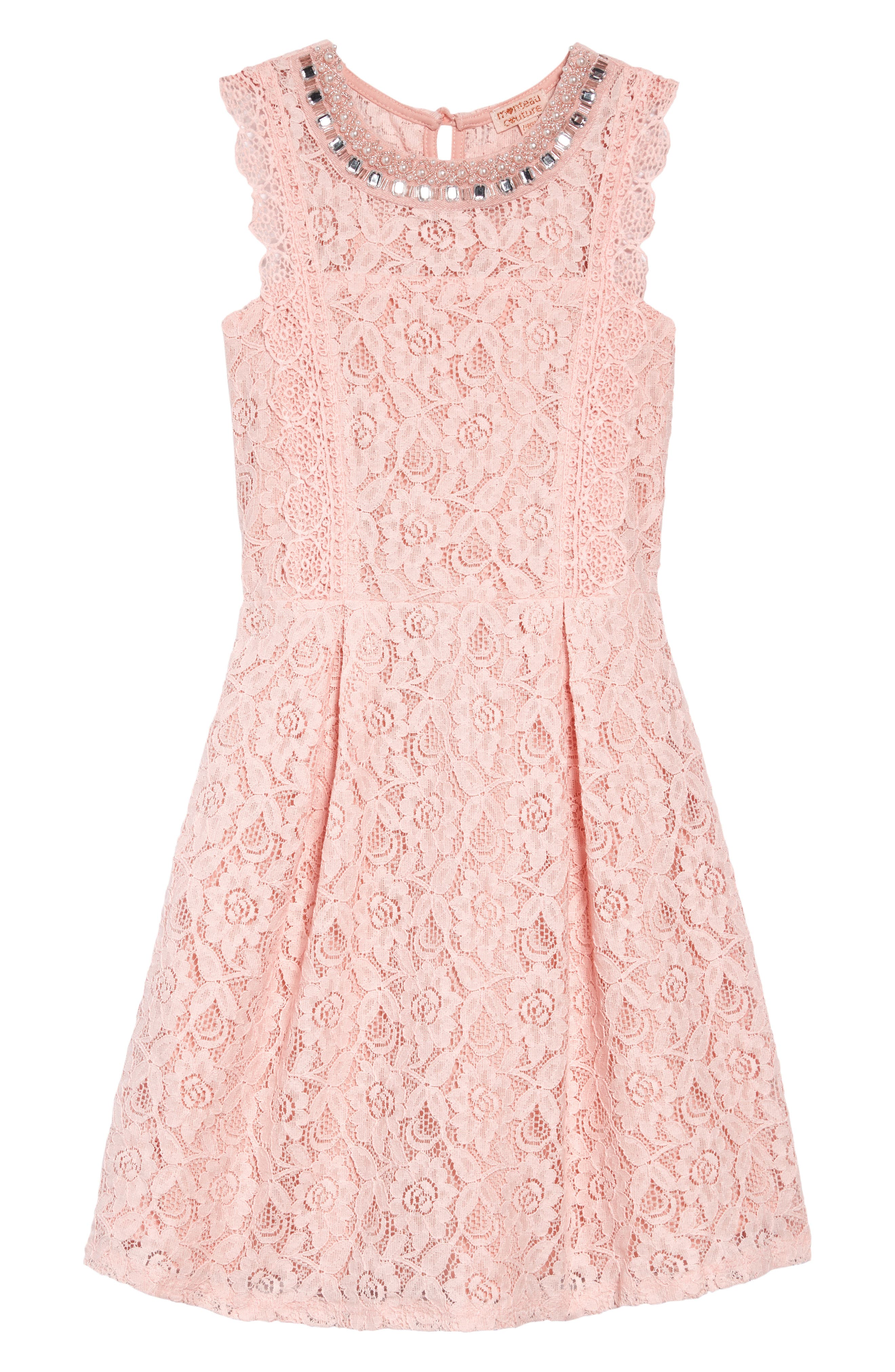MONTEAU COUTURE Jeweled Neckline Lace Dress, Main, color, PINK