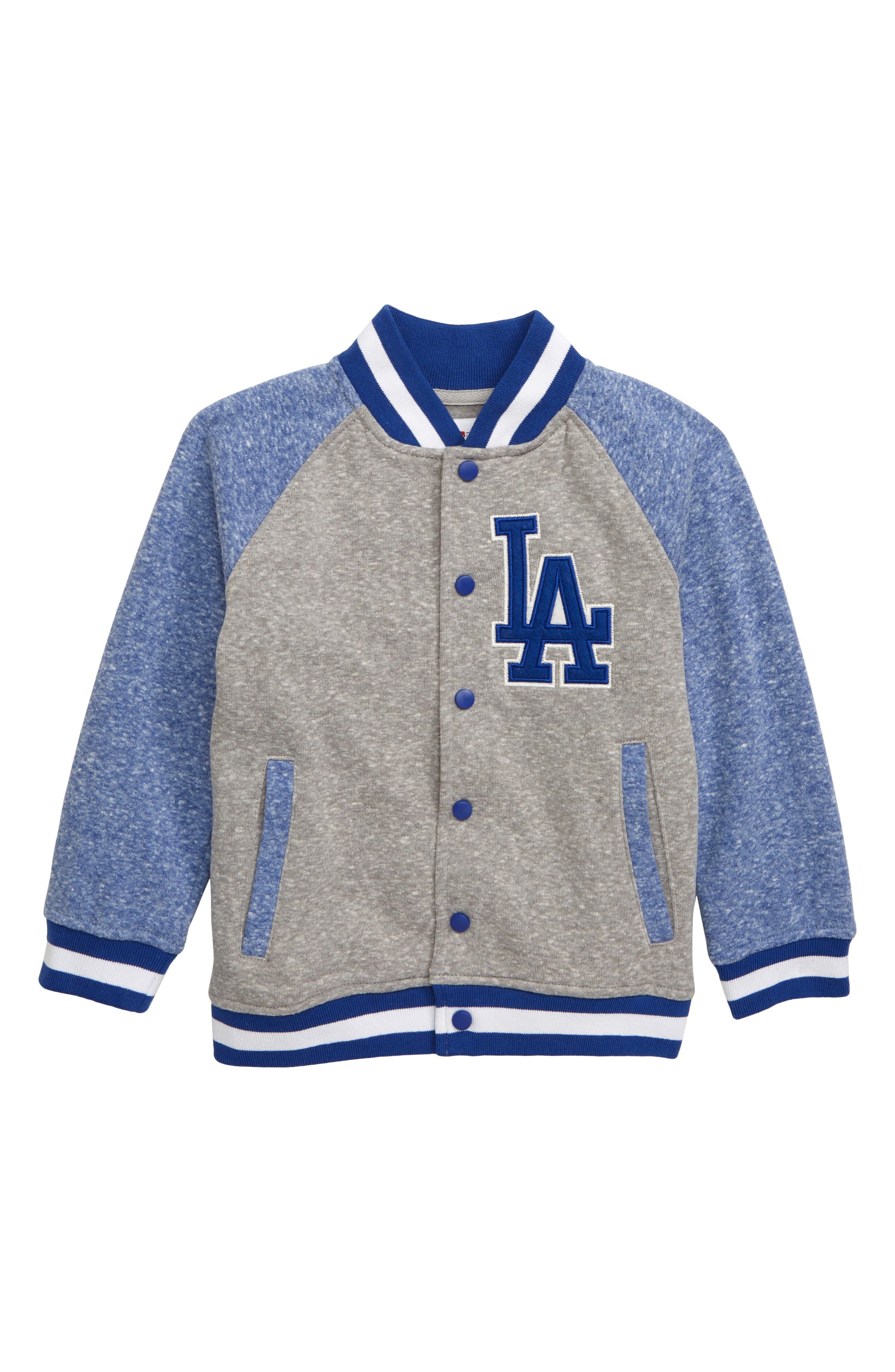 MAJESTIC MLB, Los Angeles Dodgers Pride Fleece Bomber Jacket, Main thumbnail 1, color, ROYAL BLUE