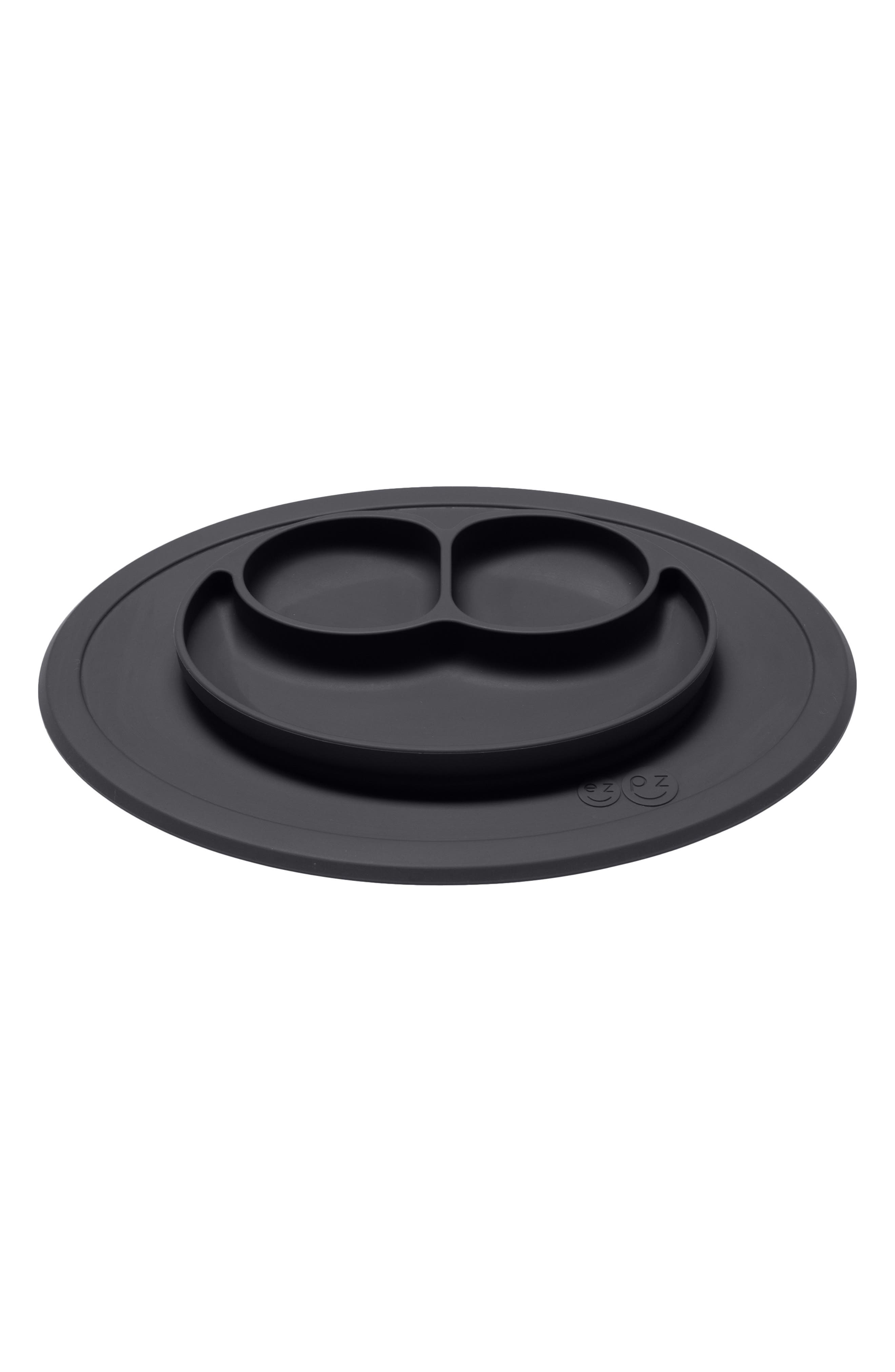 EZPZ, Monochrome Bapron & Mini Silicone Feeding Mat, Alternate thumbnail 4, color, BLACK/ WHITE