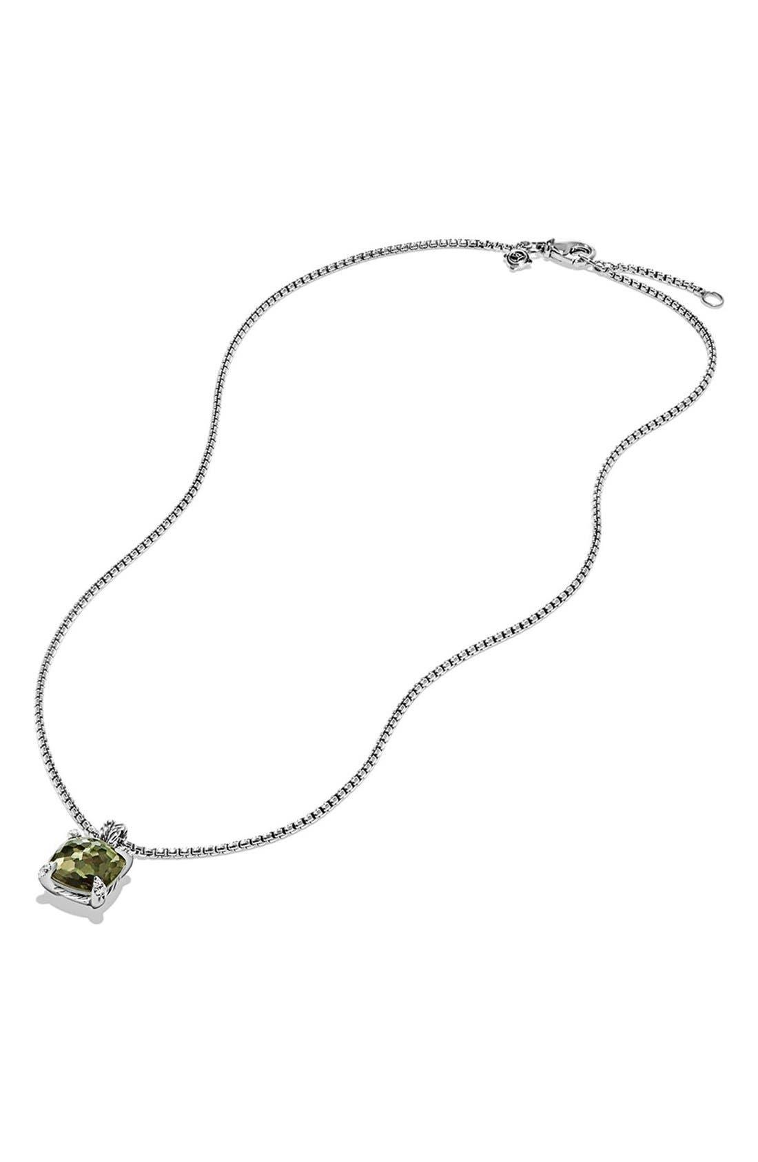 DAVID YURMAN, 'Châtelaine' Pendant Necklace with Semiprecious Stone & Diamonds, Alternate thumbnail 3, color, SILVER/ CITRINE/ HEMATINE