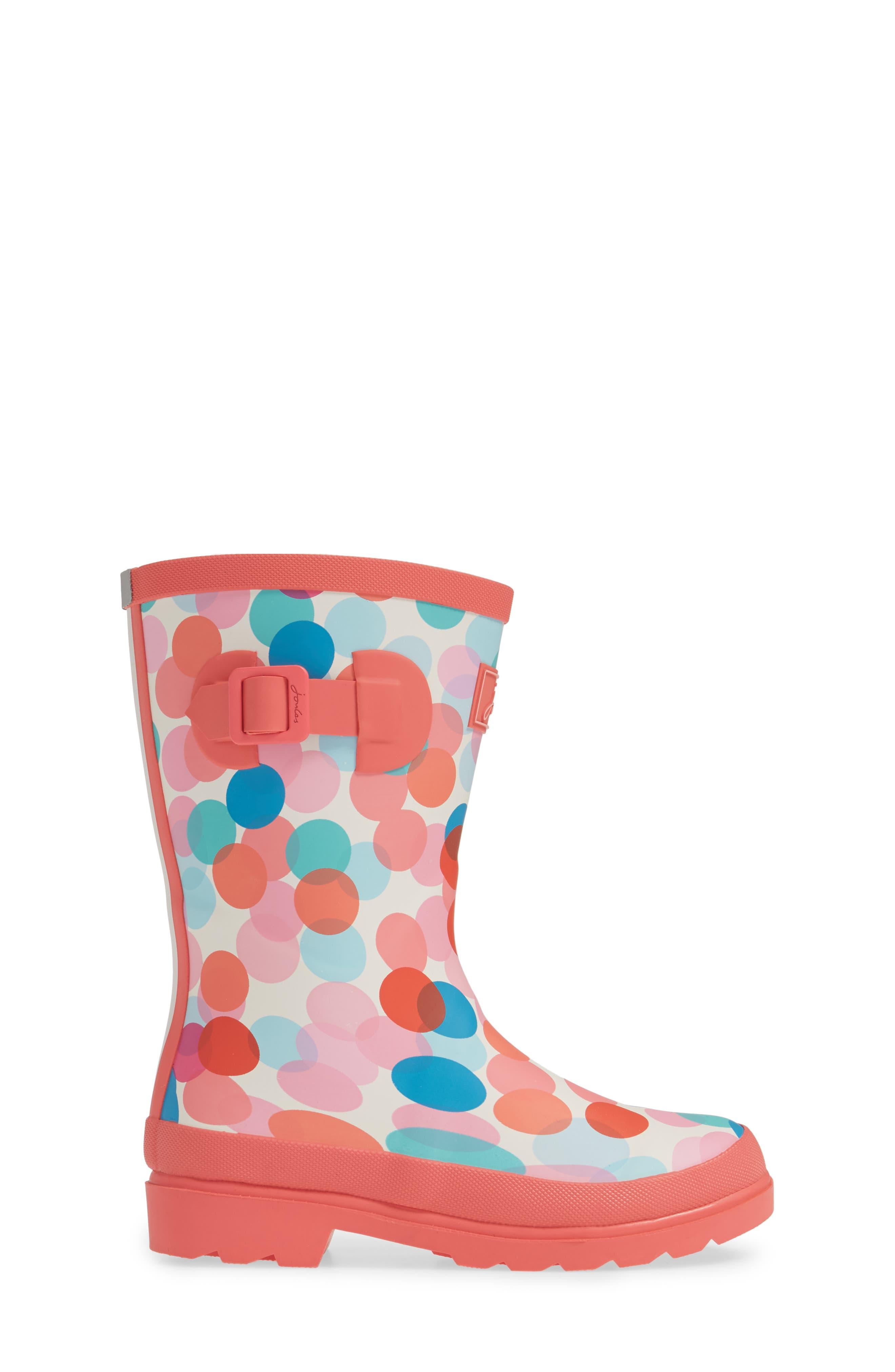 JOULES, Mid Height Print Welly Waterproof Rain Boot, Alternate thumbnail 3, color, CREAM FAIRY DITSY