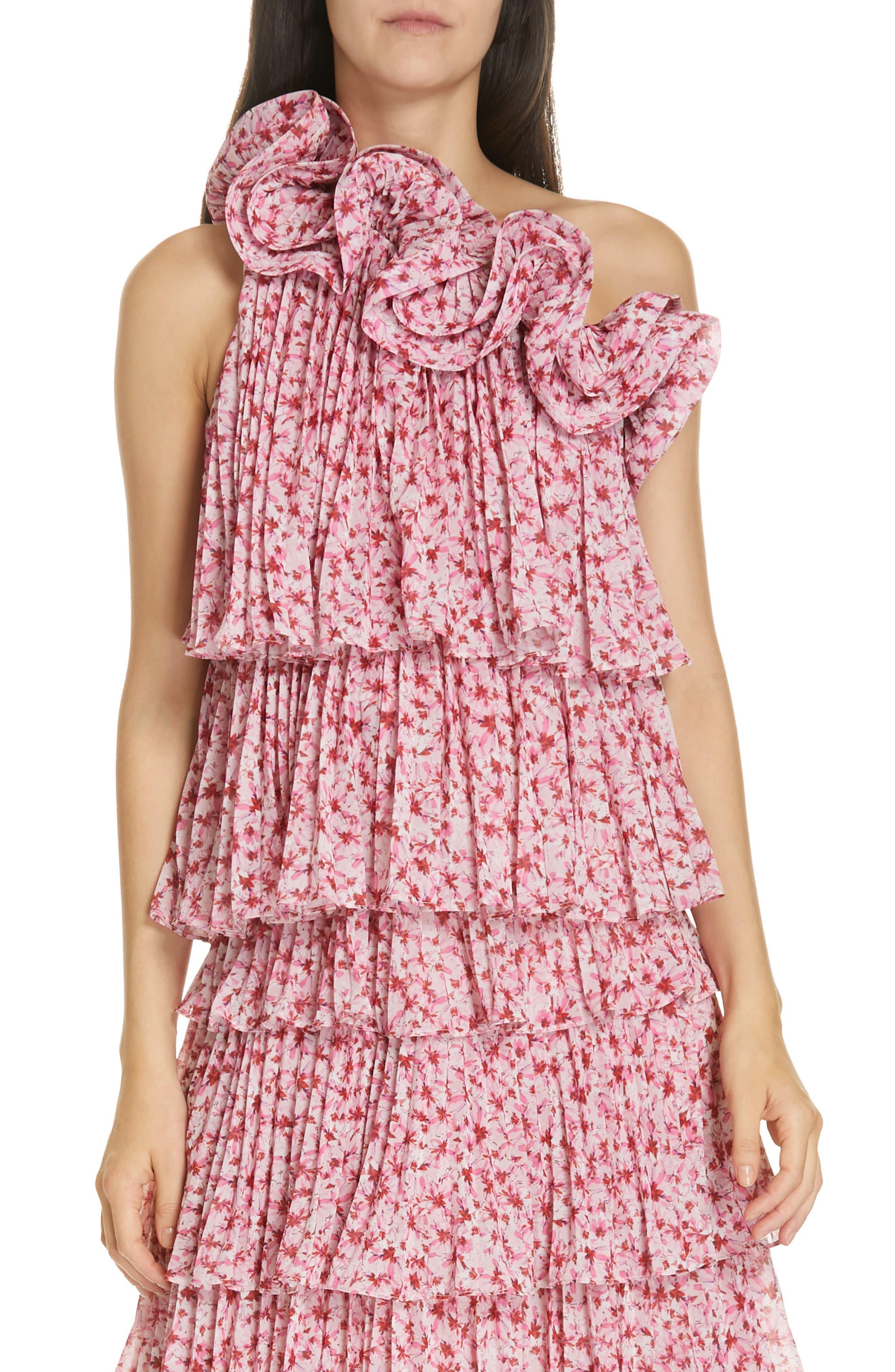 AMUR Portia Floral Print One-Shoulder Top, Main, color, PINK
