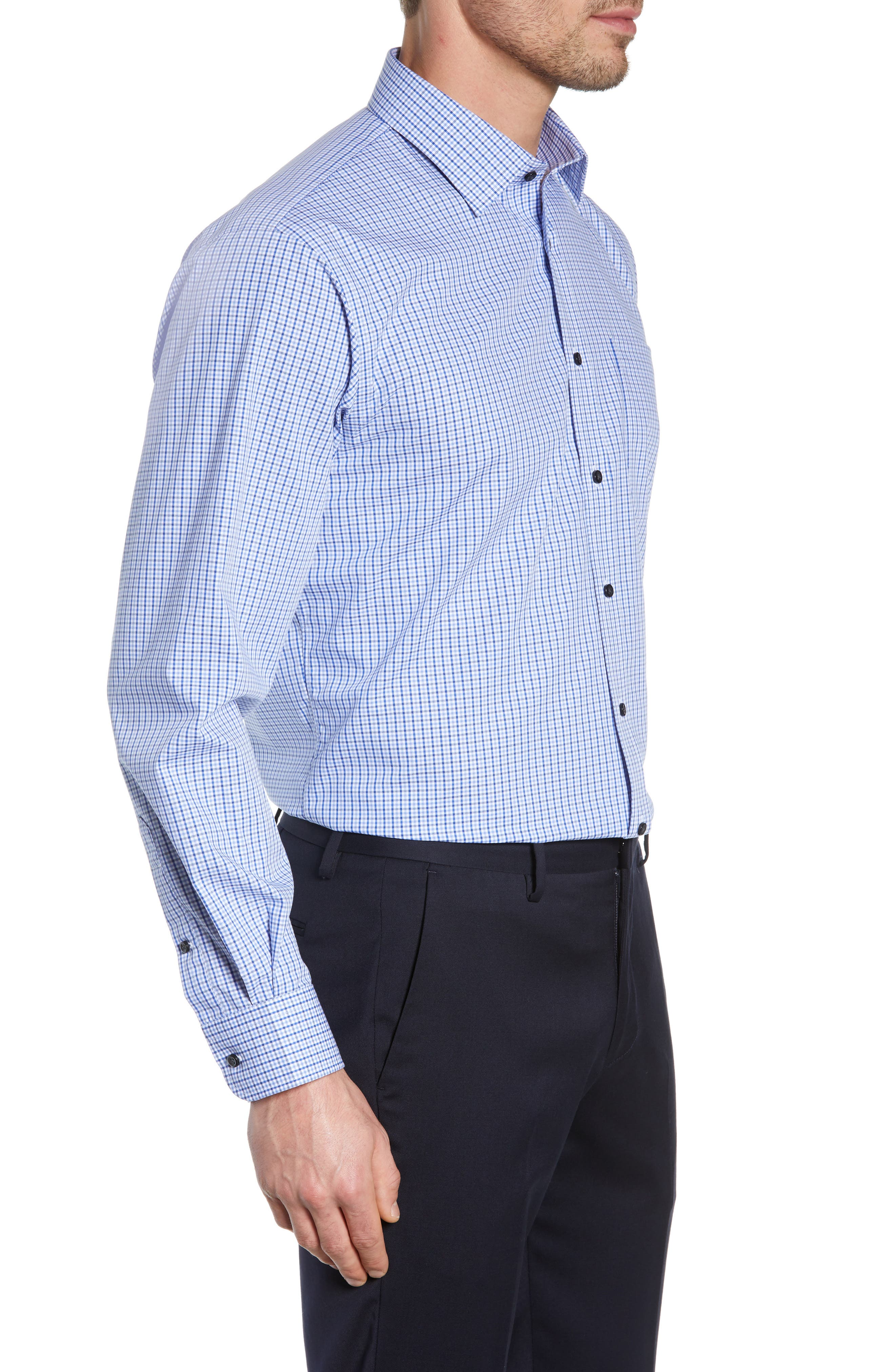 NORDSTROM MEN'S SHOP, Traditional Fit Non-Iron Check Dress Shirt, Alternate thumbnail 4, color, BLUE MARINE
