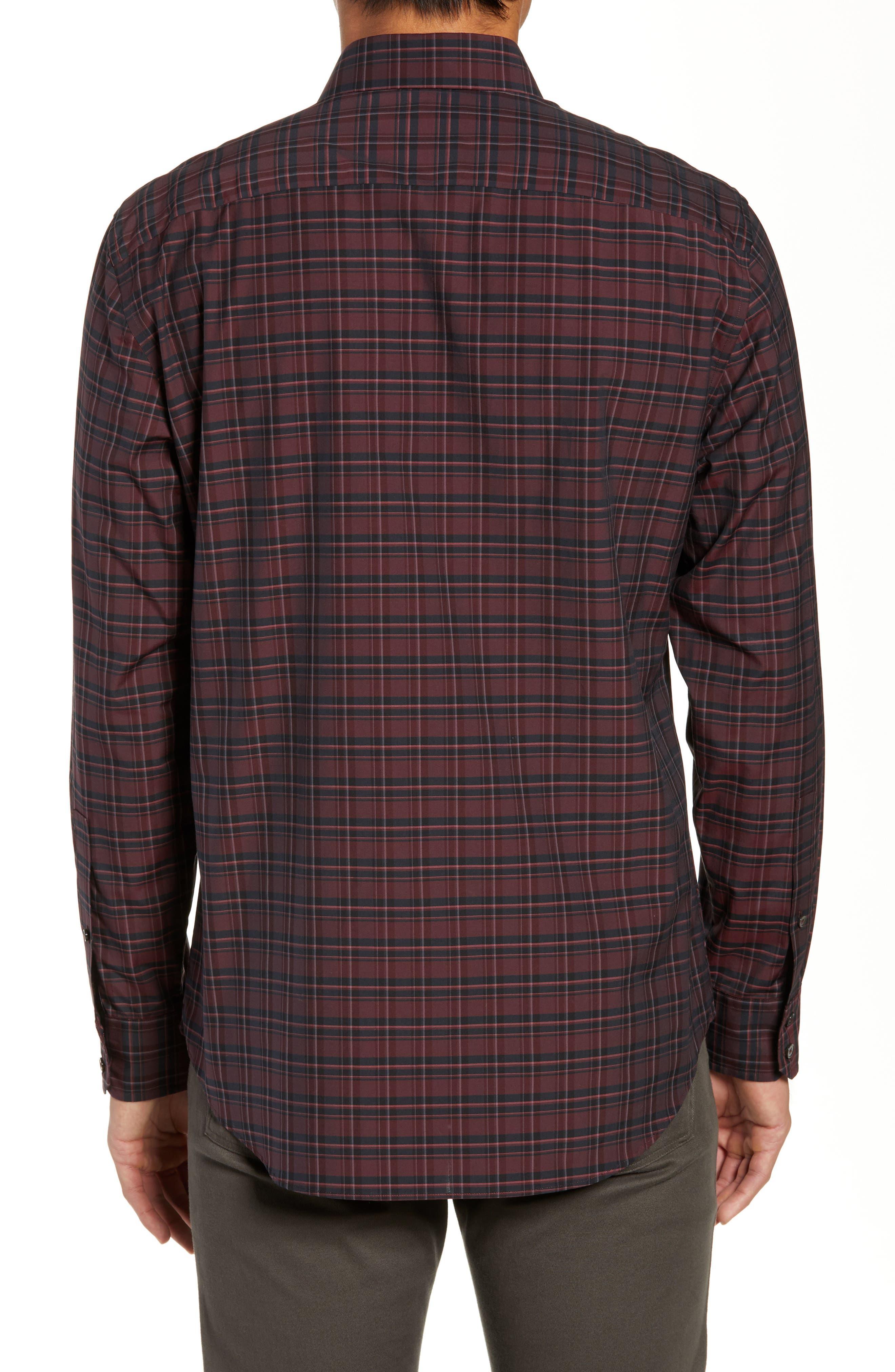 ZACHARY PRELL, Sunny Regular Fit Sport Shirt, Alternate thumbnail 3, color, RUBY