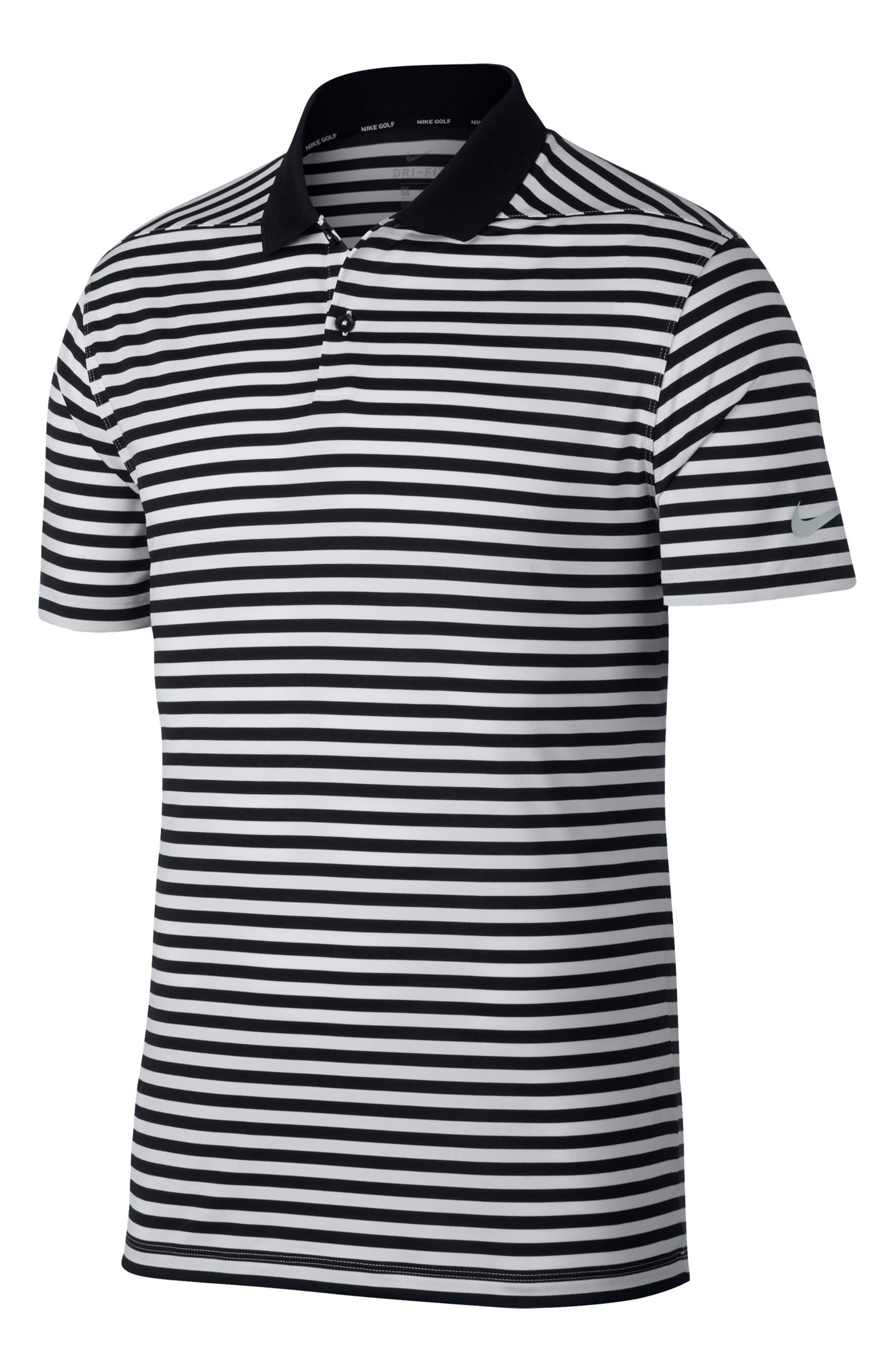 NIKE, Victory Stripe Dri-FIT Golf Polo, Alternate thumbnail 5, color, BLACK/ WHITE/COOL GREY