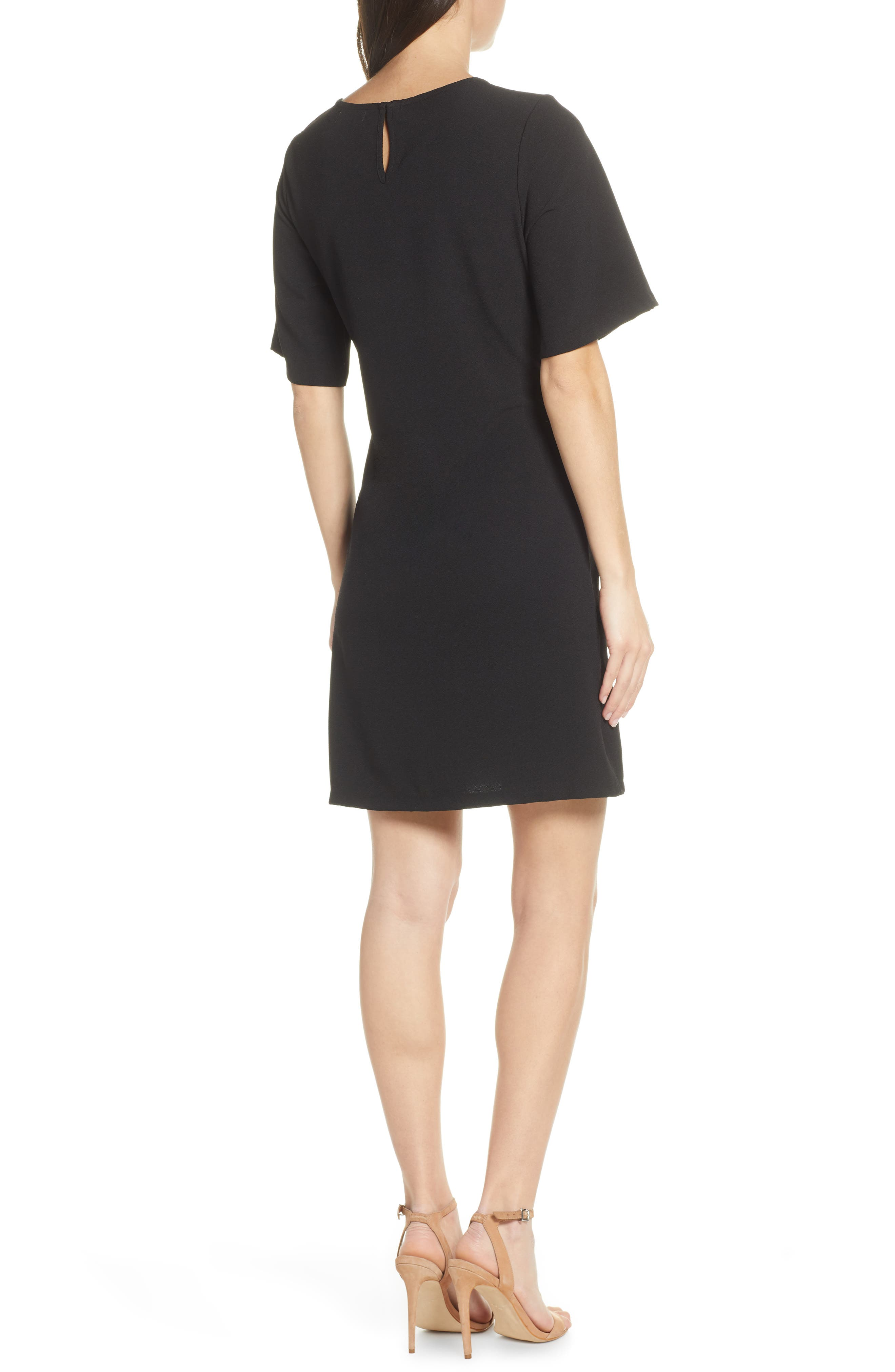 CHELSEA28, Front Tie Shift Dress, Alternate thumbnail 4, color, BLACK