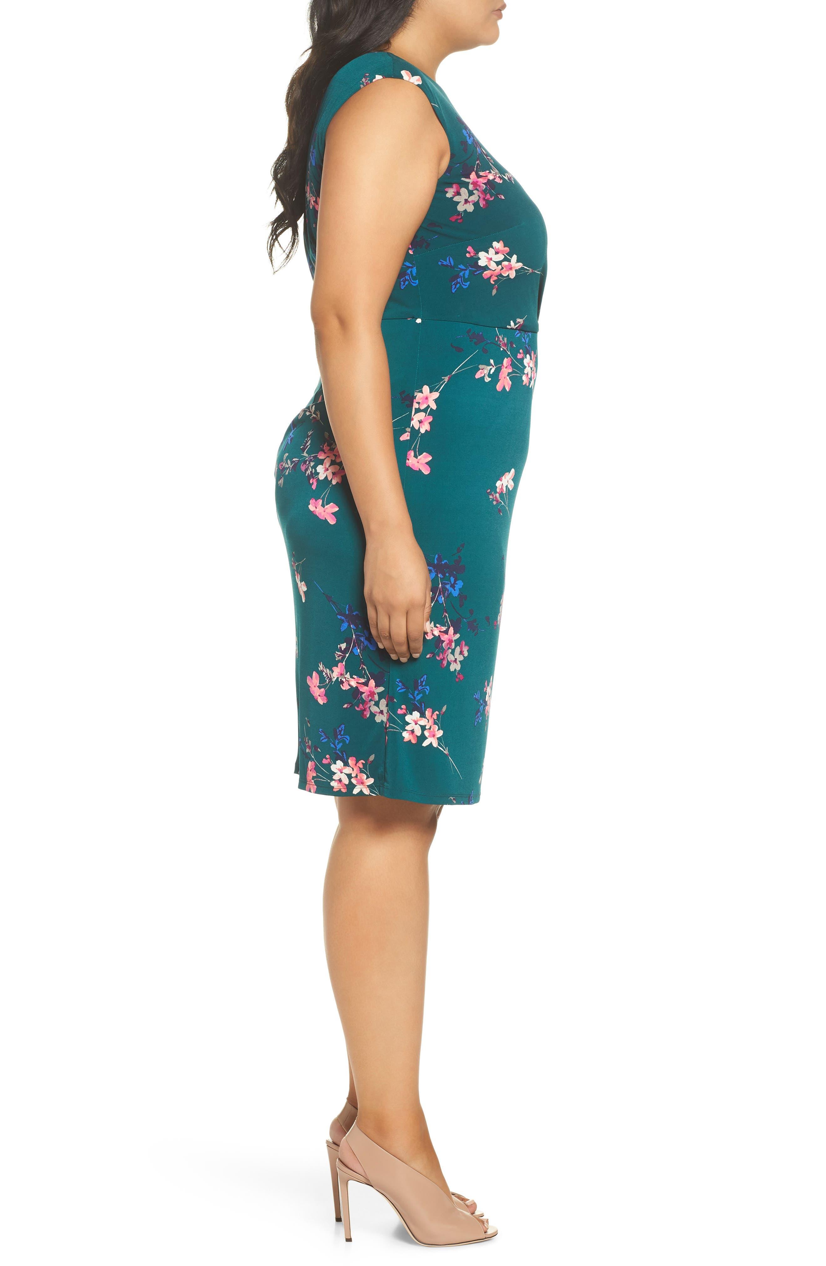 ELIZA J, Floral Print Cap Sleeve Sheath Dress, Alternate thumbnail 4, color, GREEN