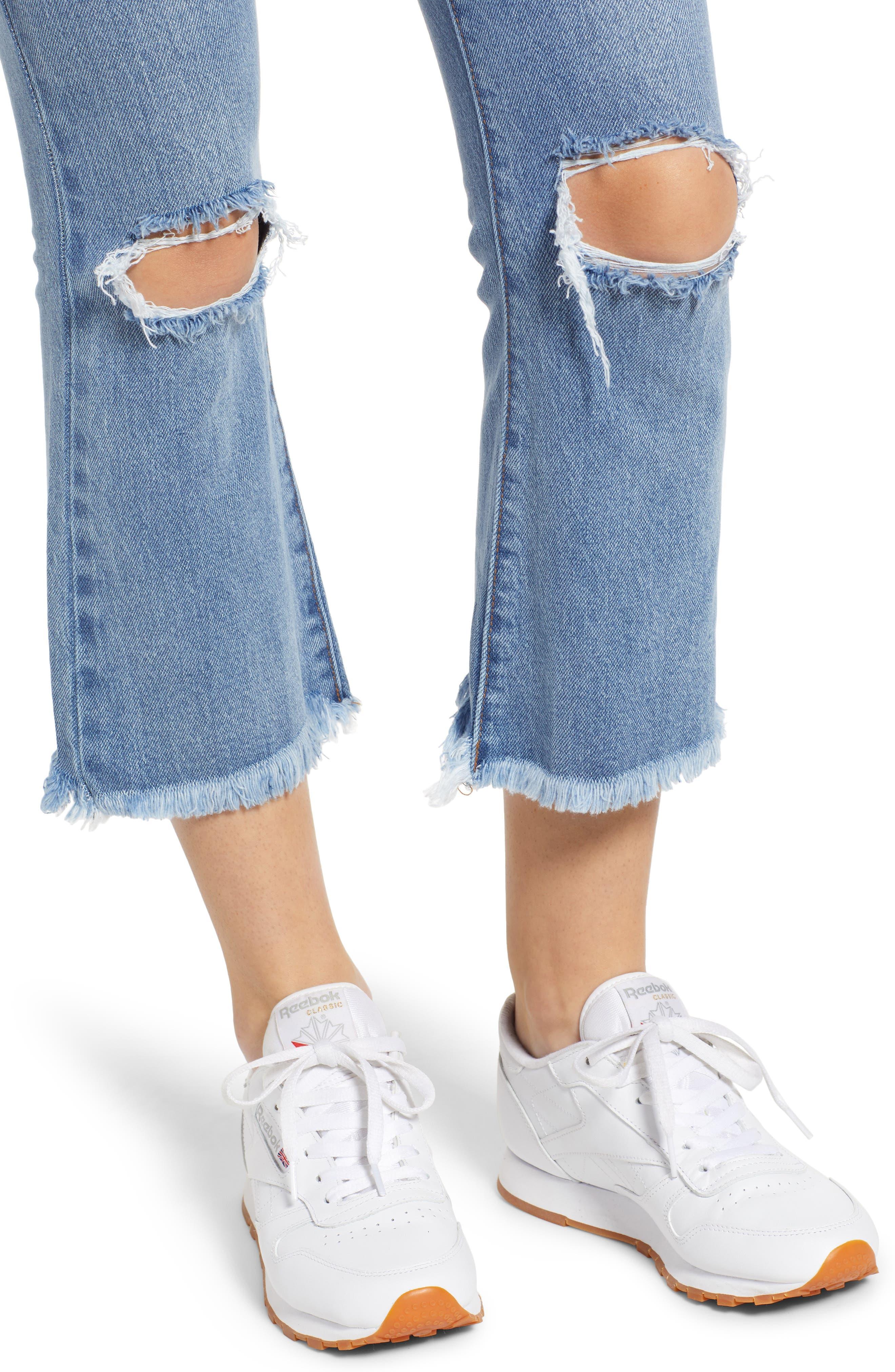 PROSPERITY DENIM, Ripped Crop Flare Jeans, Alternate thumbnail 5, color, MEDIUM WASH