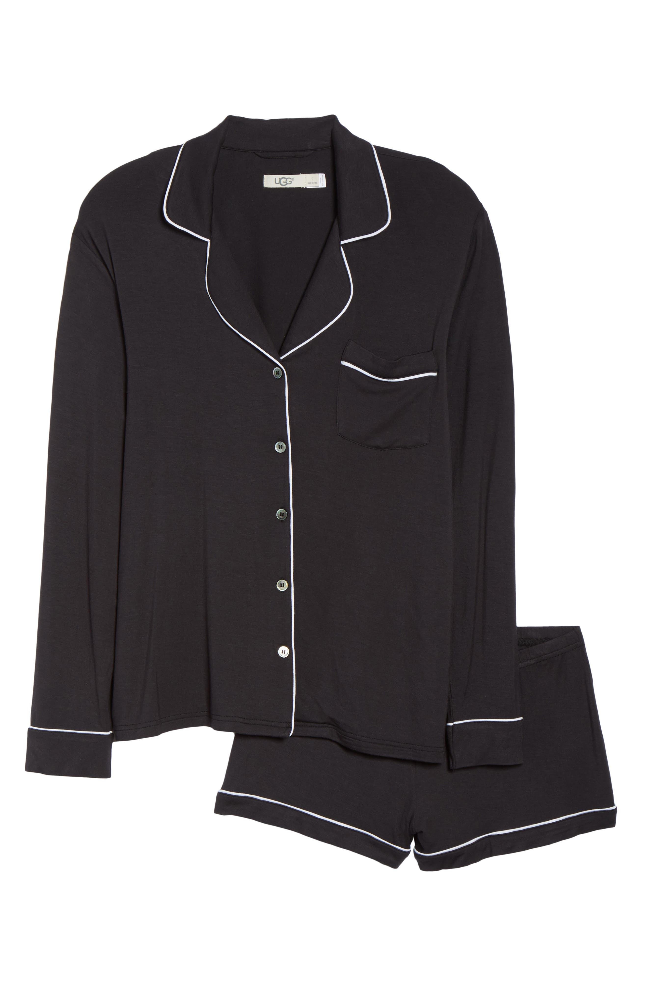 UGG<SUP>®</SUP>, Nya Short Pajamas, Alternate thumbnail 6, color, BLACK