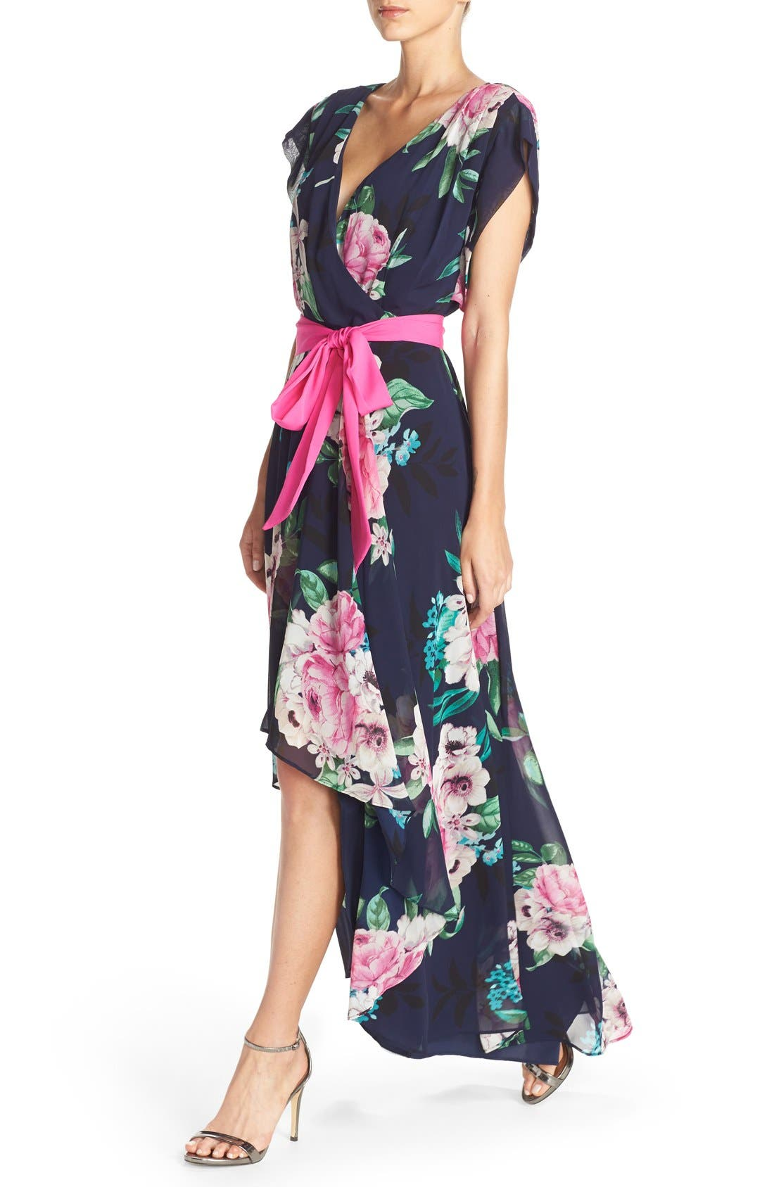 ELIZA J, Floral Print Chiffon High/Low Dress, Alternate thumbnail 5, color, 470