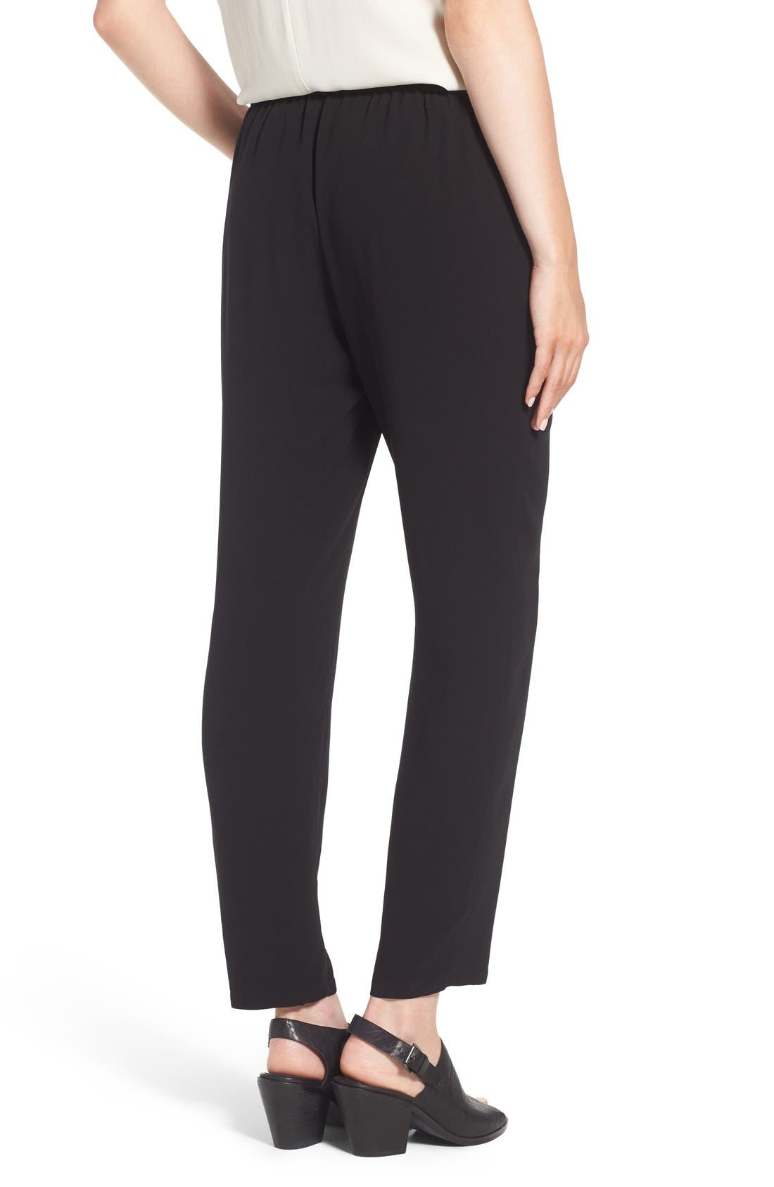 EILEEN FISHER, Silk Crepe Ankle Pants, Alternate thumbnail 3, color, 001