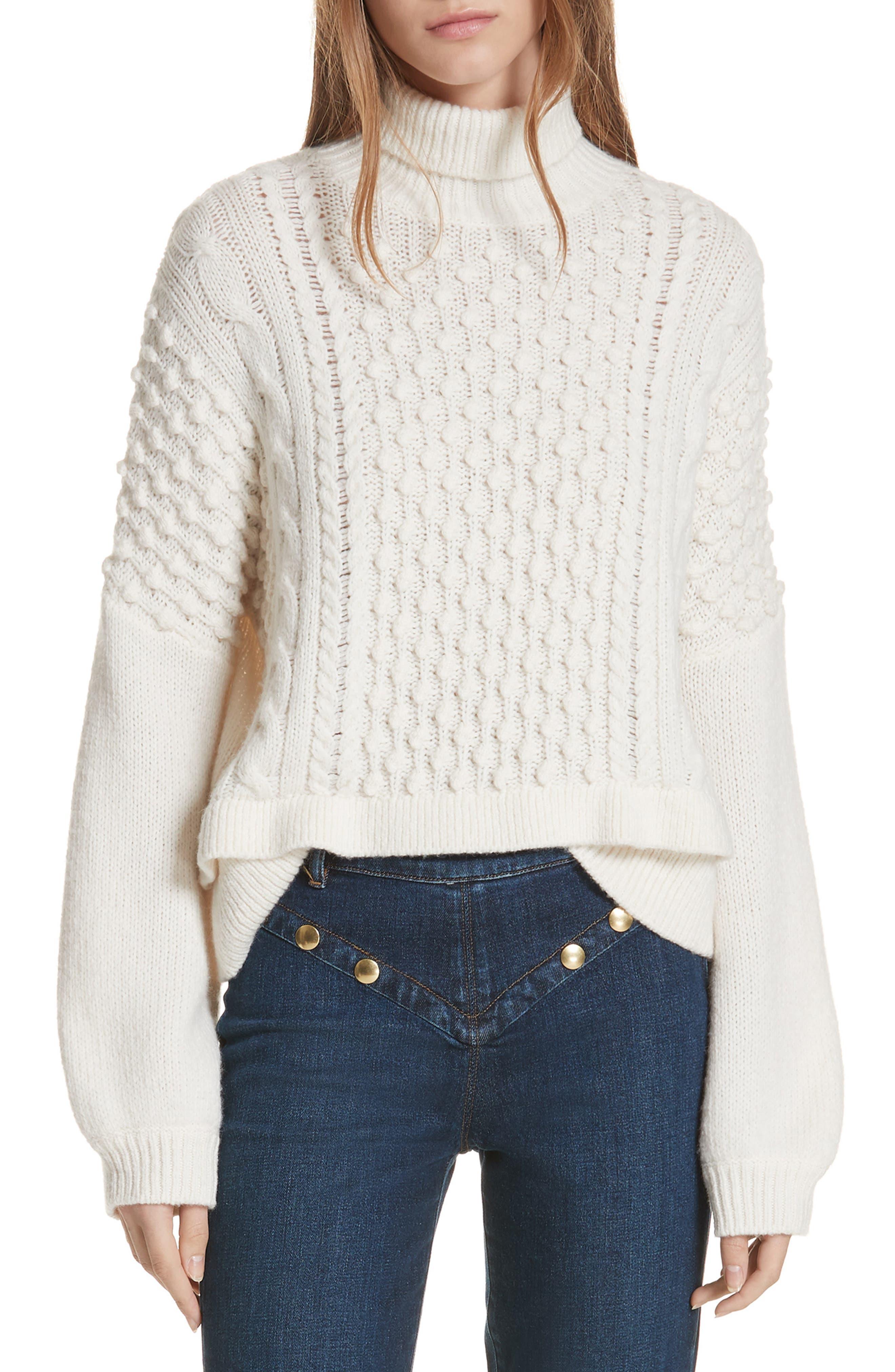 Frame Popcorn Stitch Wool Blend Sweater, Ivory