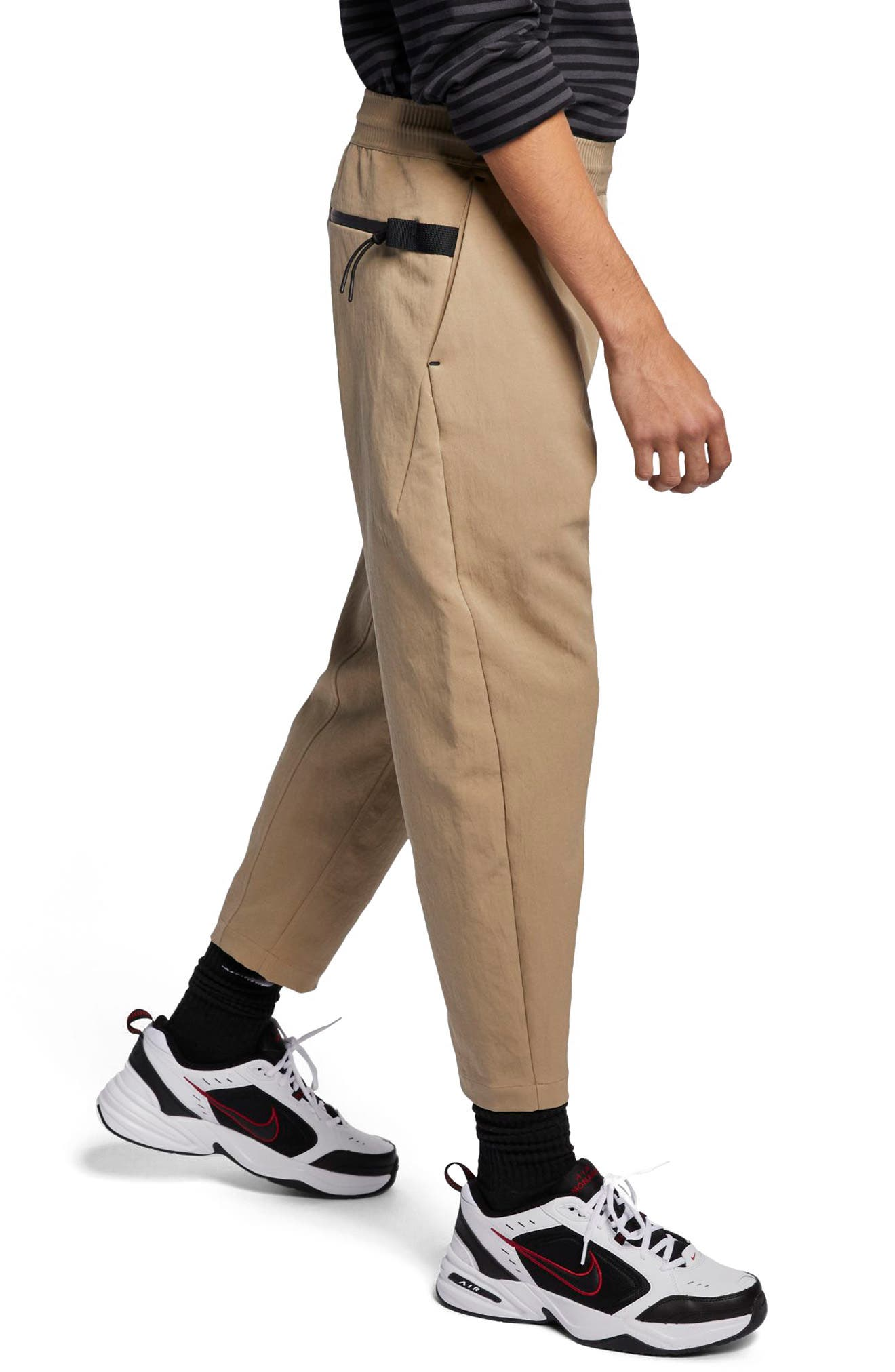NIKE, Sportswear Tech Pack Men's Crop Woven Pants, Alternate thumbnail 4, color, KHAKI/ KHAKI/ BLACK