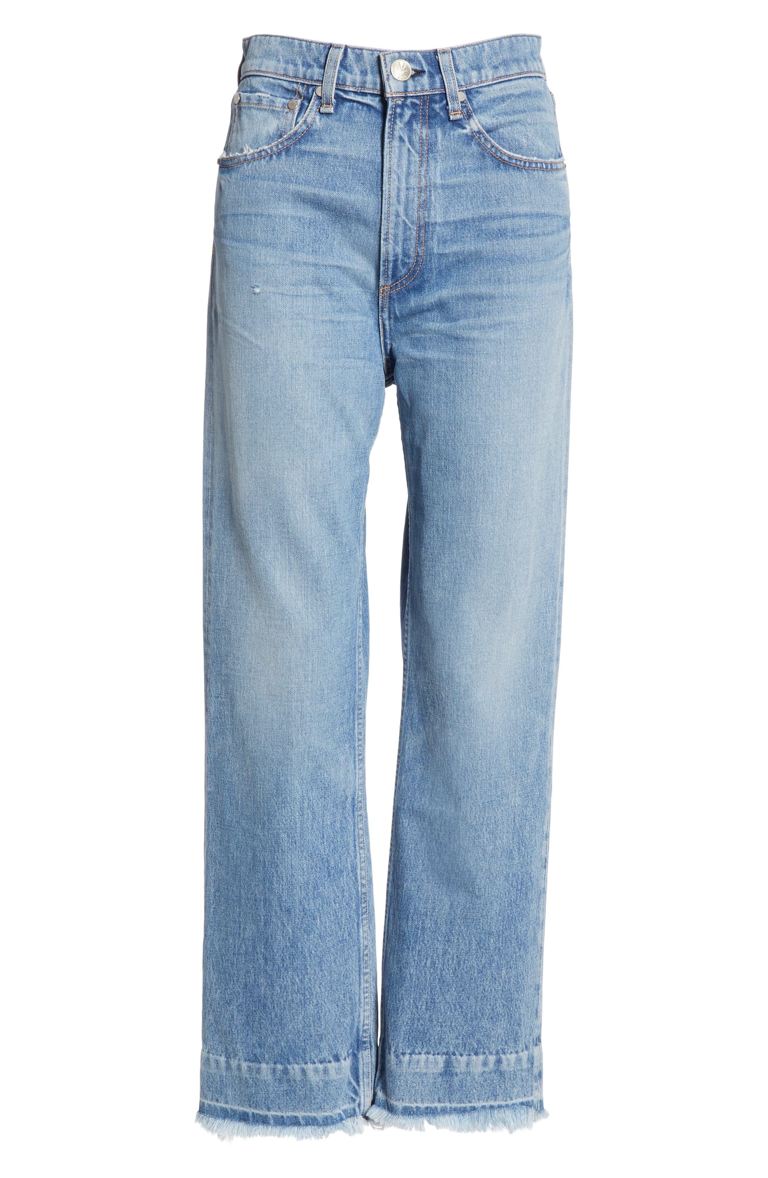 RAG & BONE, Ruth Super High Waist Straight Leg Jeans, Alternate thumbnail 6, color, BABY