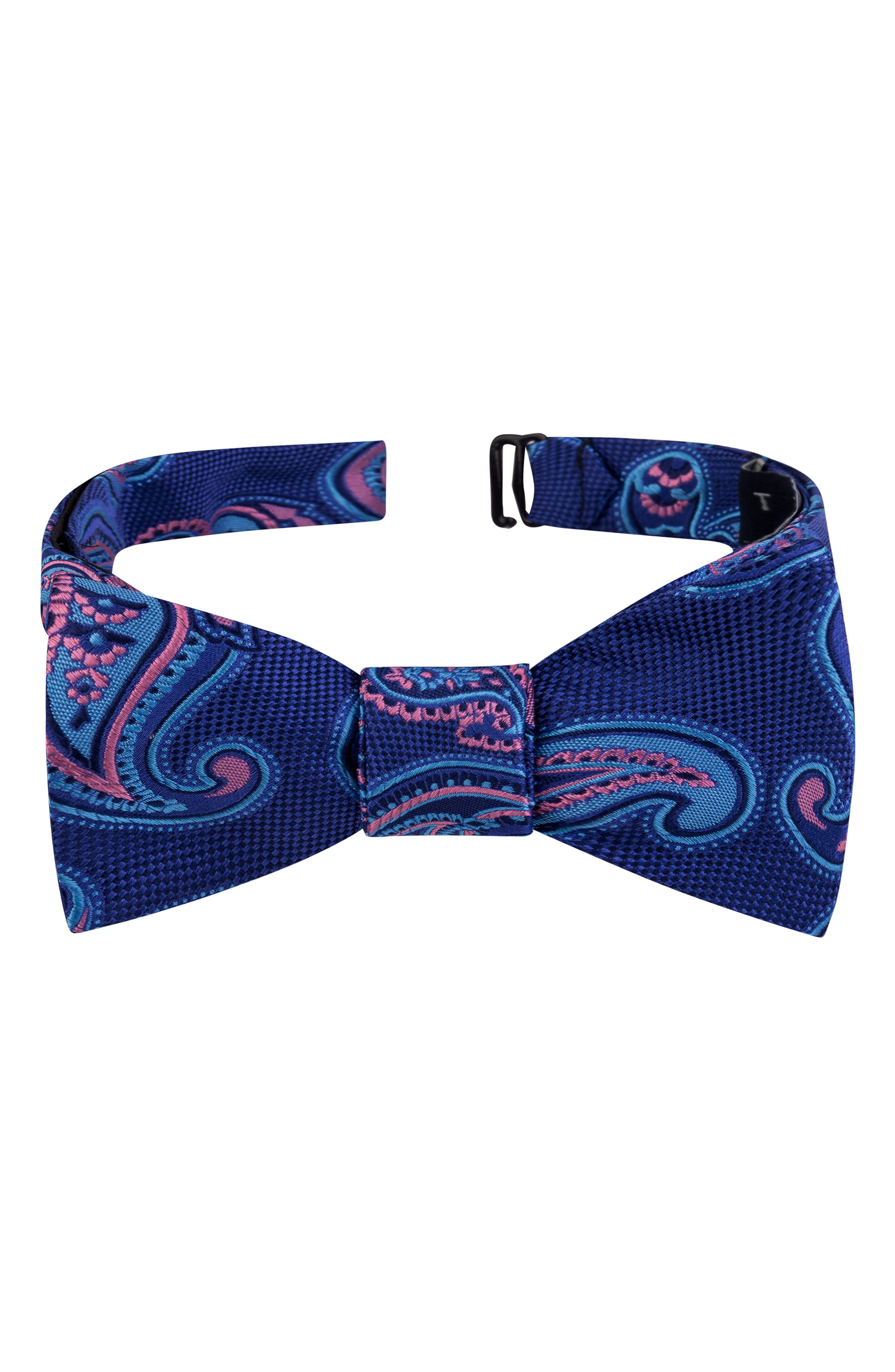TED BAKER LONDON, Twin Pine Silk Bow Tie, Main thumbnail 1, color, BLUE