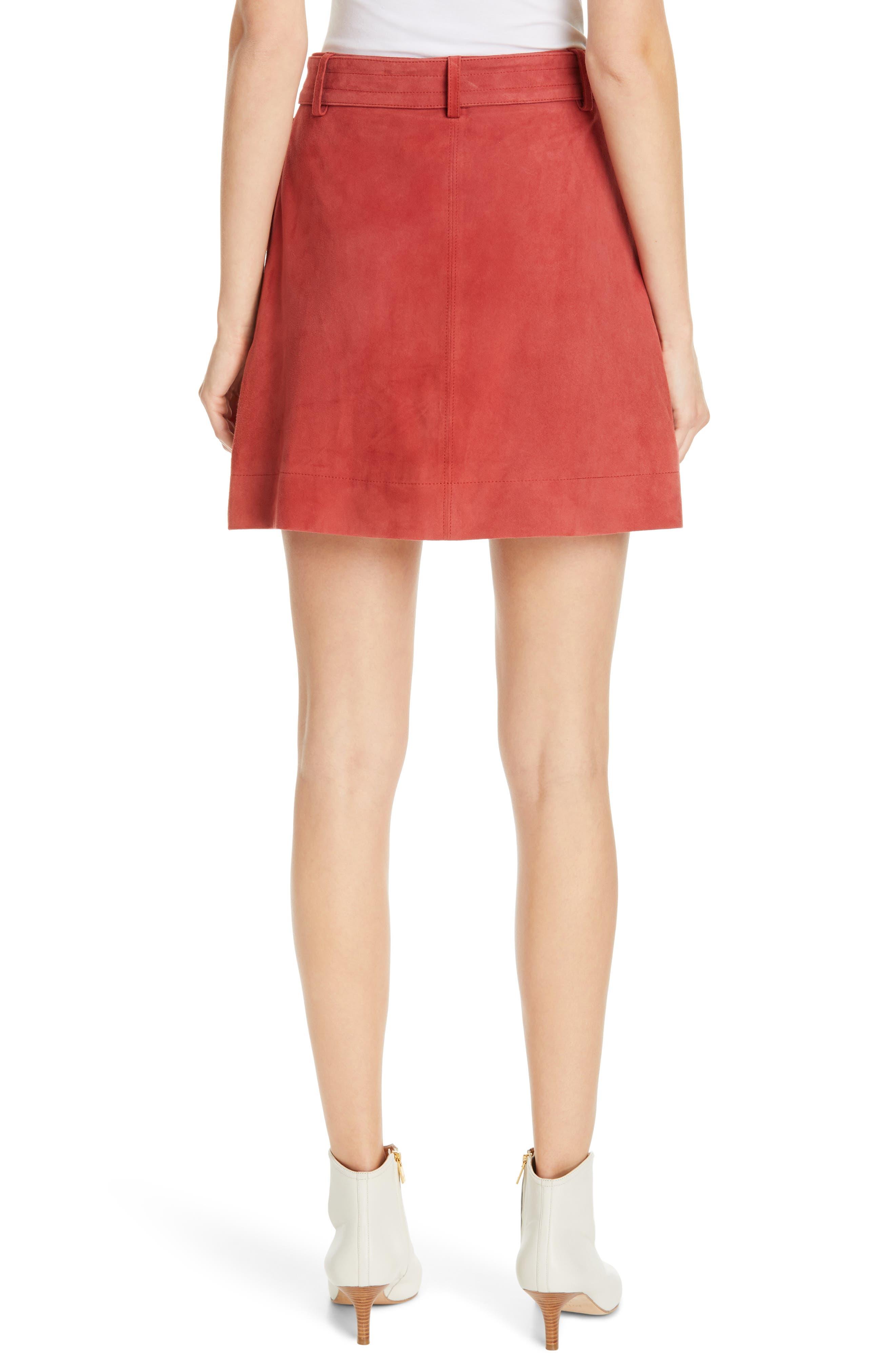 JOIE, Neida Suede Miniskirt, Alternate thumbnail 2, color, DESERT SPICE