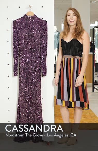 High Neck Sequin Gown with Train, sales video thumbnail